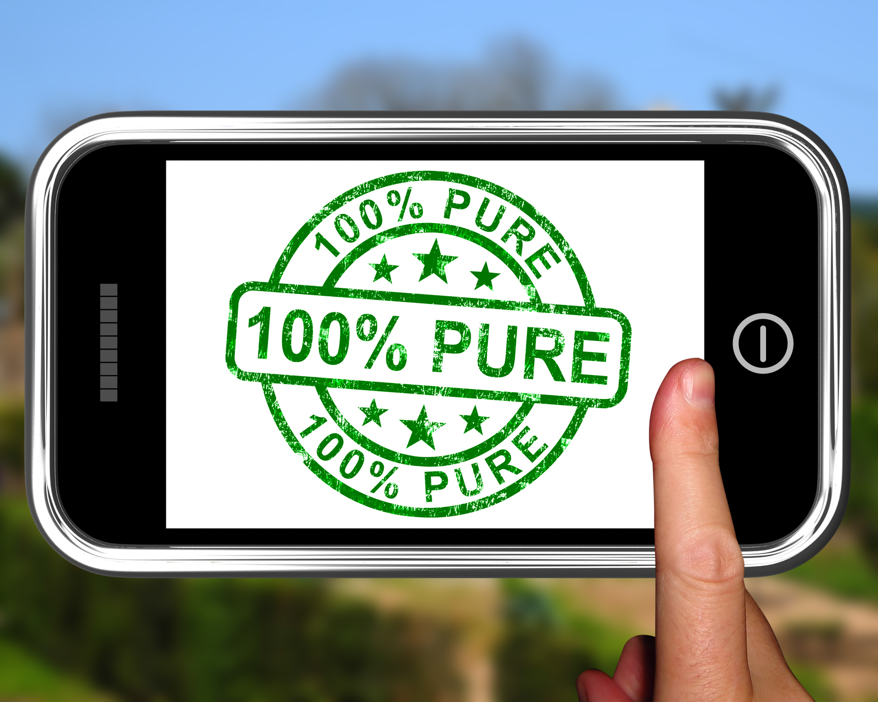 100Percent Pure On Smartphone Shows Genuine, 100, Nature, Untreated, Smartphone, HQ Photo