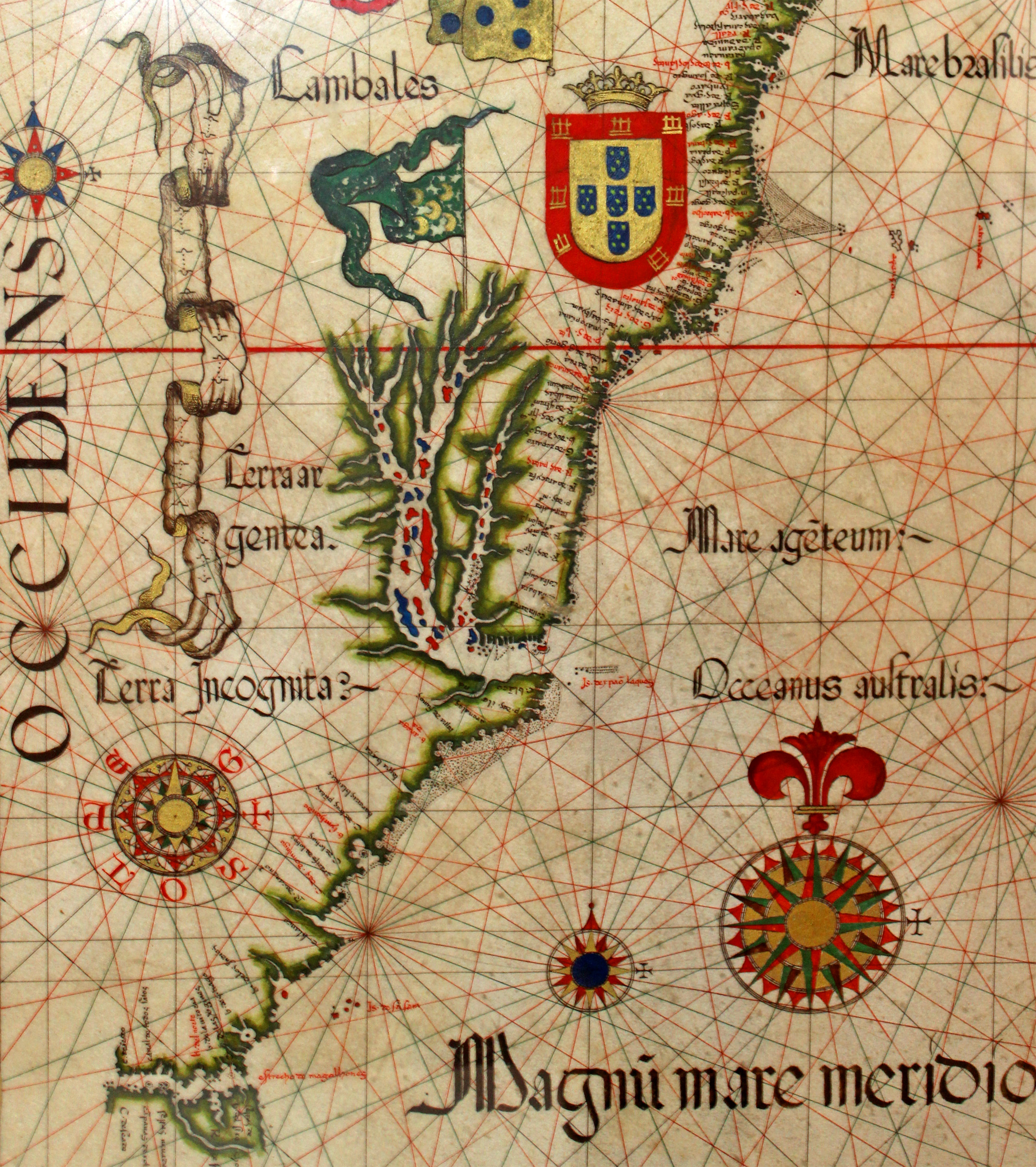 16th-century nautical chart showing the recently discovered brazilian photo