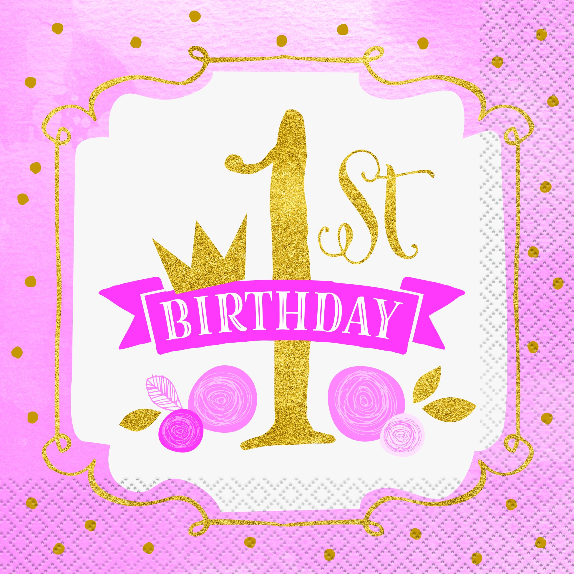 Pink 1st Birthday Napkins | Kid's Party | Party Fever | Party Fever