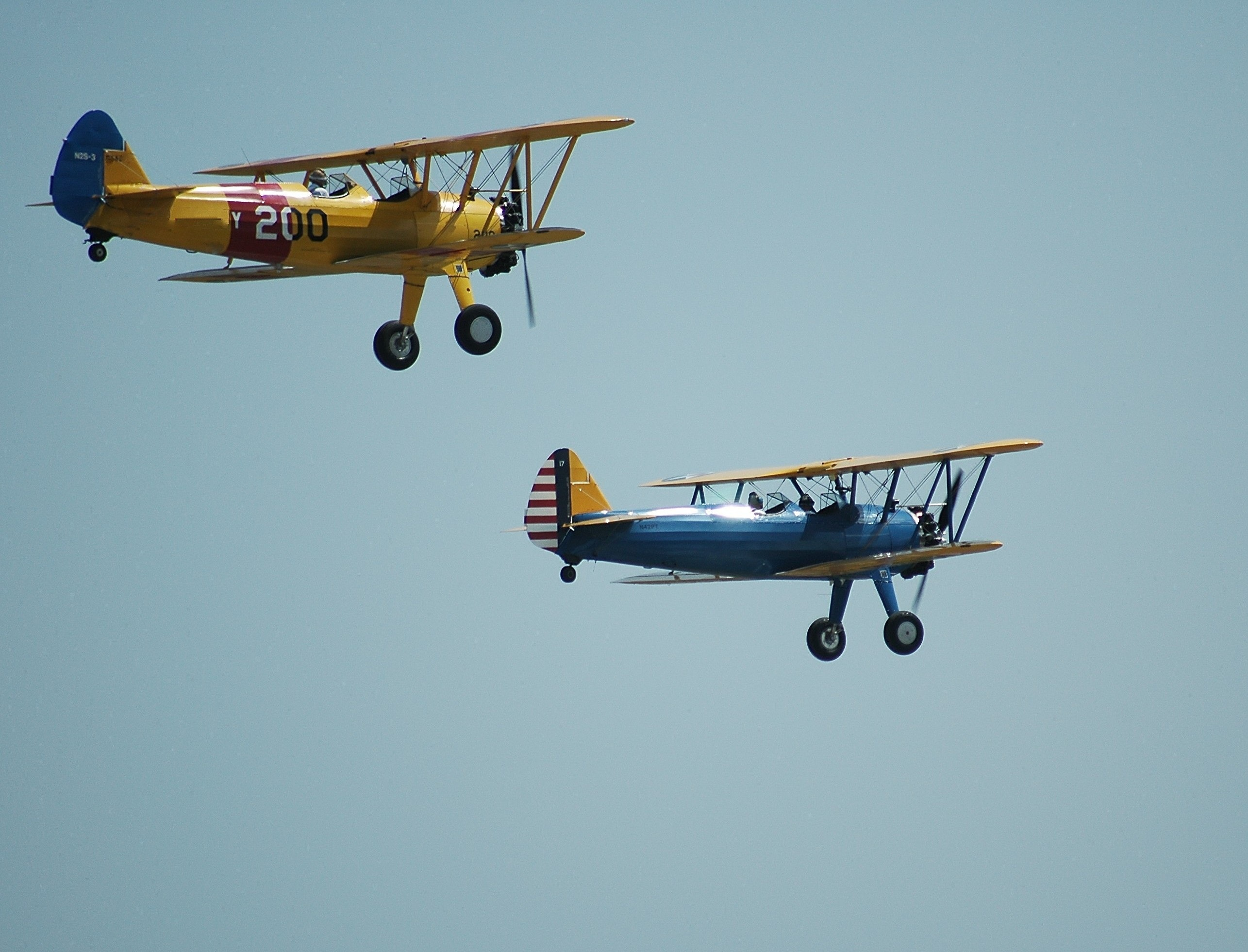 2 Biplanes Flying, Aeroplanes, Aircrafts, Airplanes, Aviation, HQ Photo