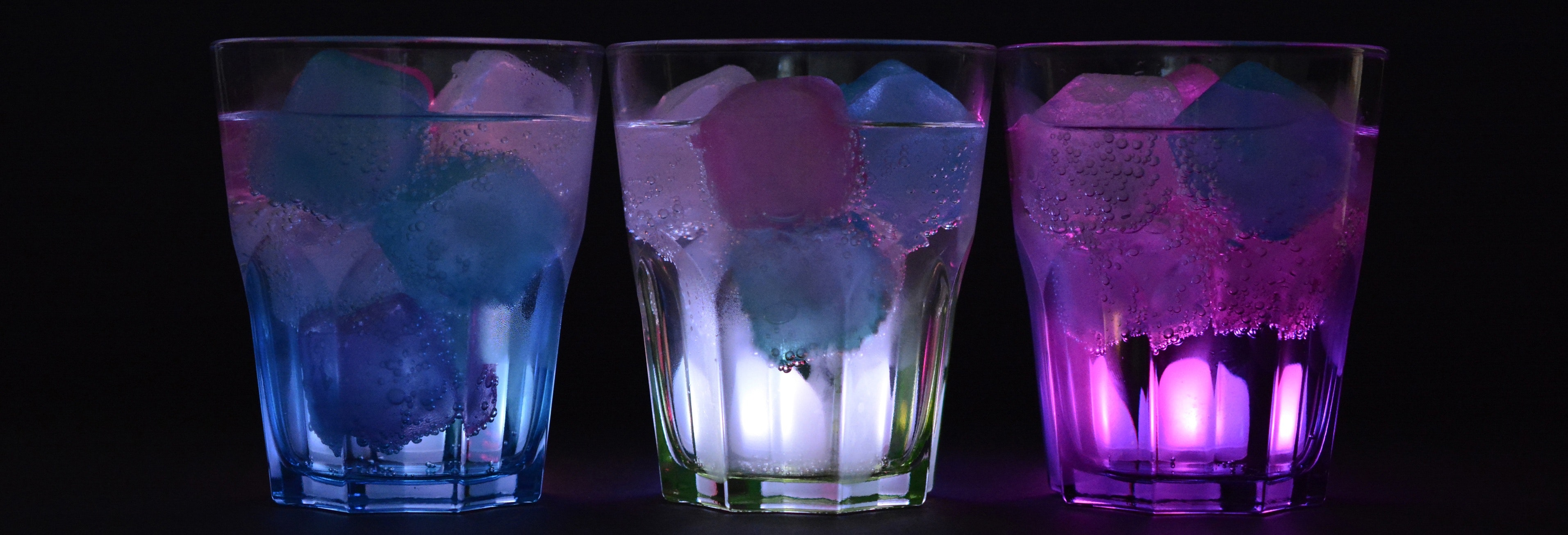 3 Lighted Clear Drinking Glass With Beverage, Ice cubes, Illuminated, Ice, Glasses, HQ Photo
