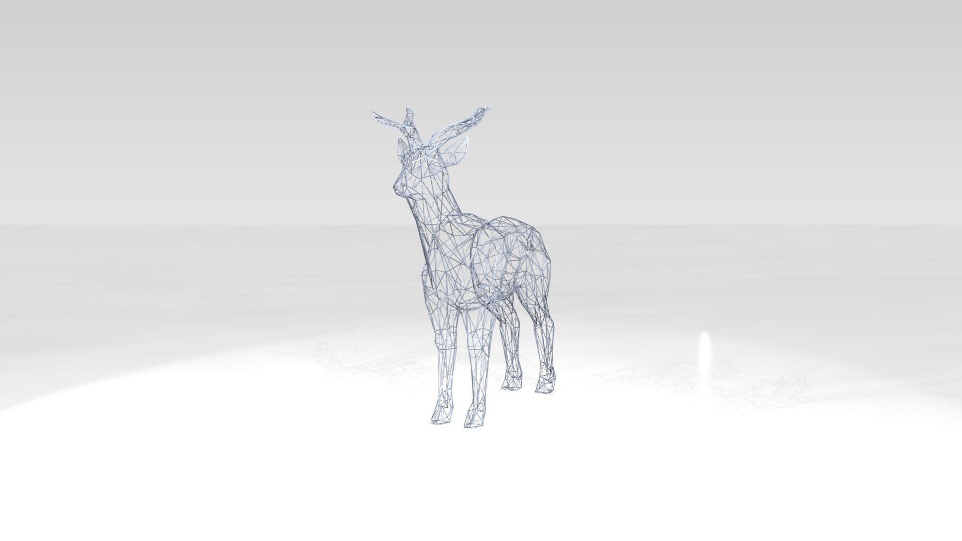 Deer Wireframe 3D model OBJ DXF STL BLEND DAE MS3D