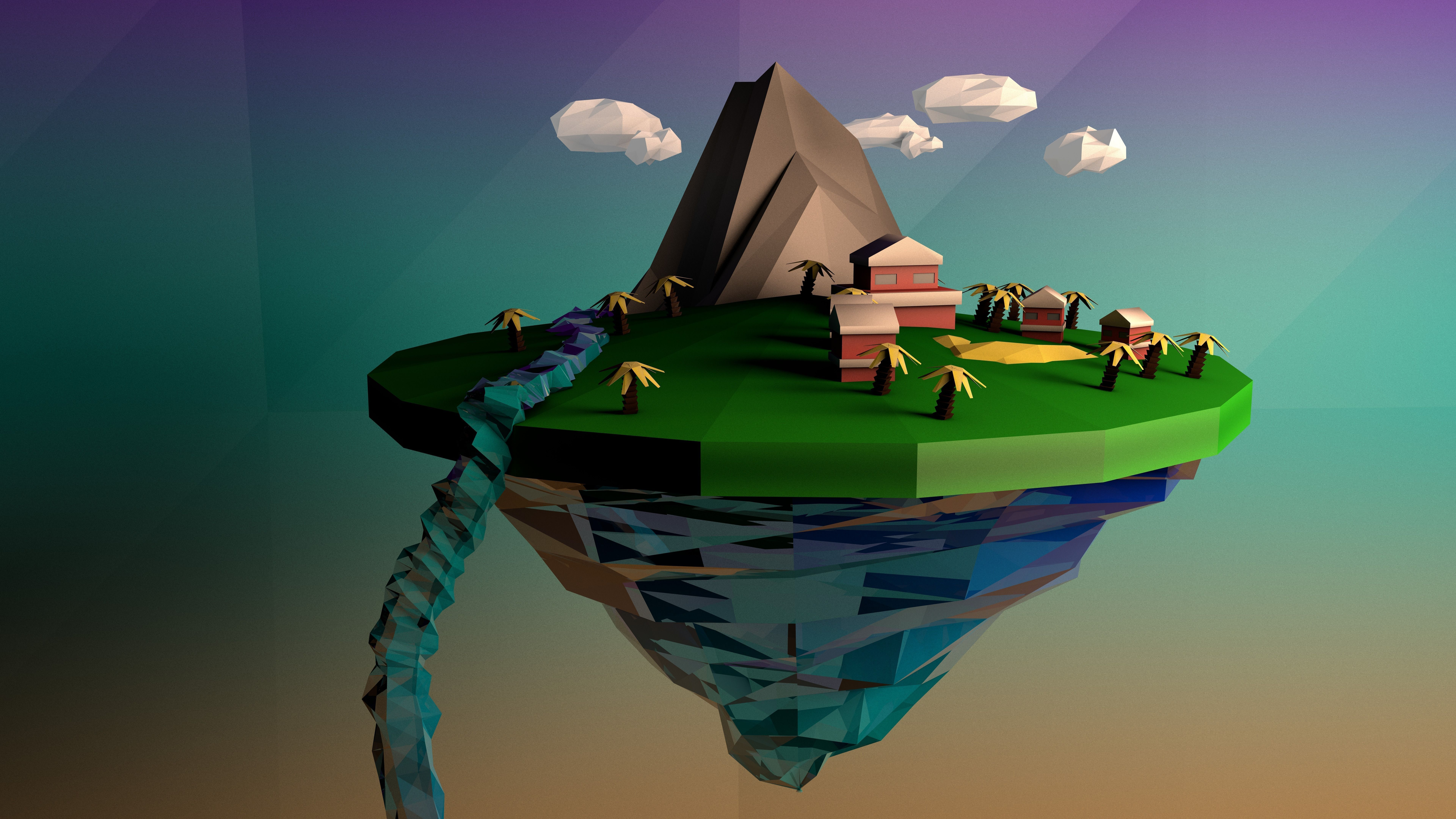 Low Poly Floating Island 3D model   CGTrader
