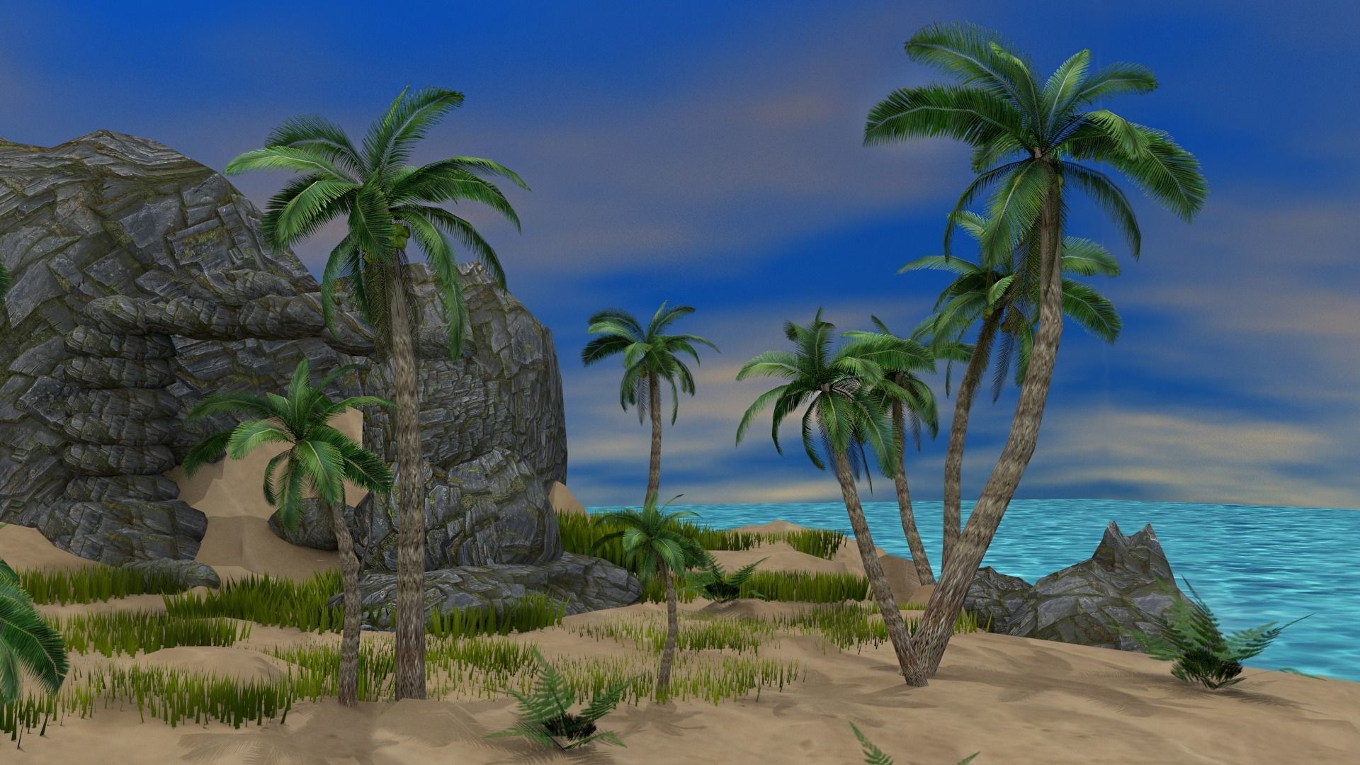 Tropical Island 3D asset low-poly   CGTrader