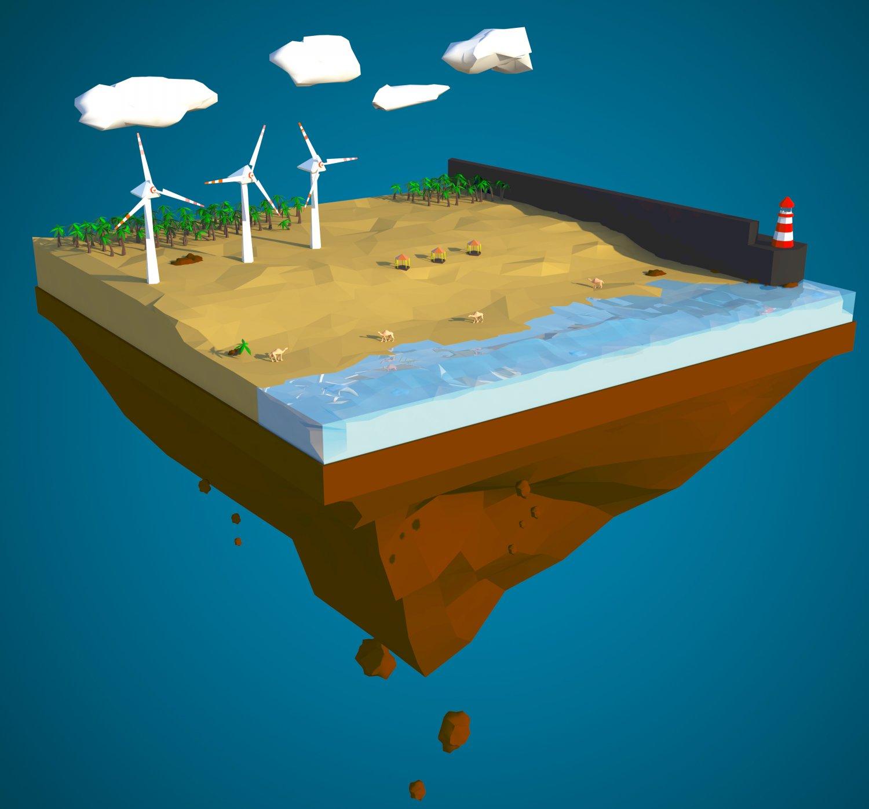 Floating island of Desert windfarm beach 3D model 3D Model in ...