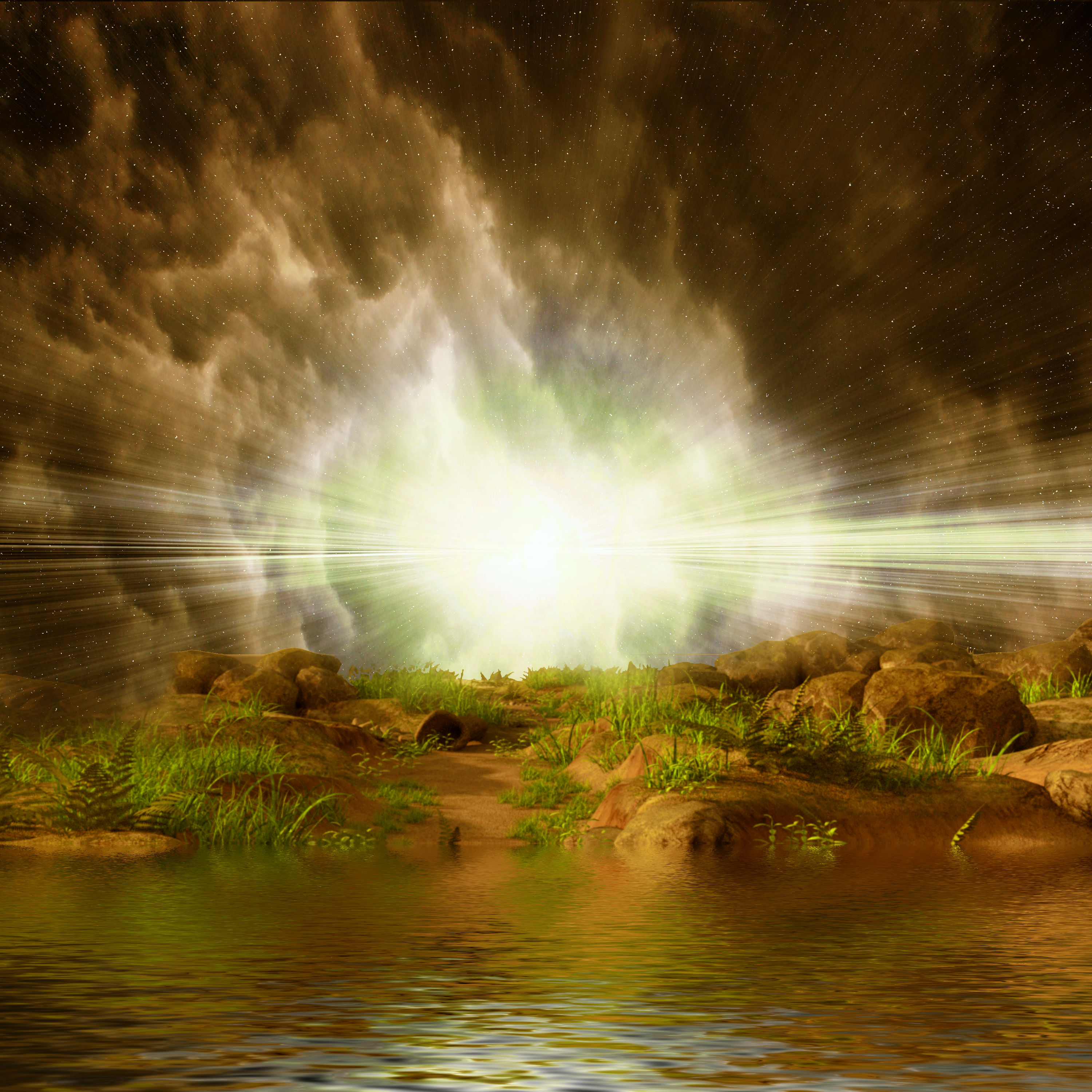 3d landscape - bright light by the waterfront photo