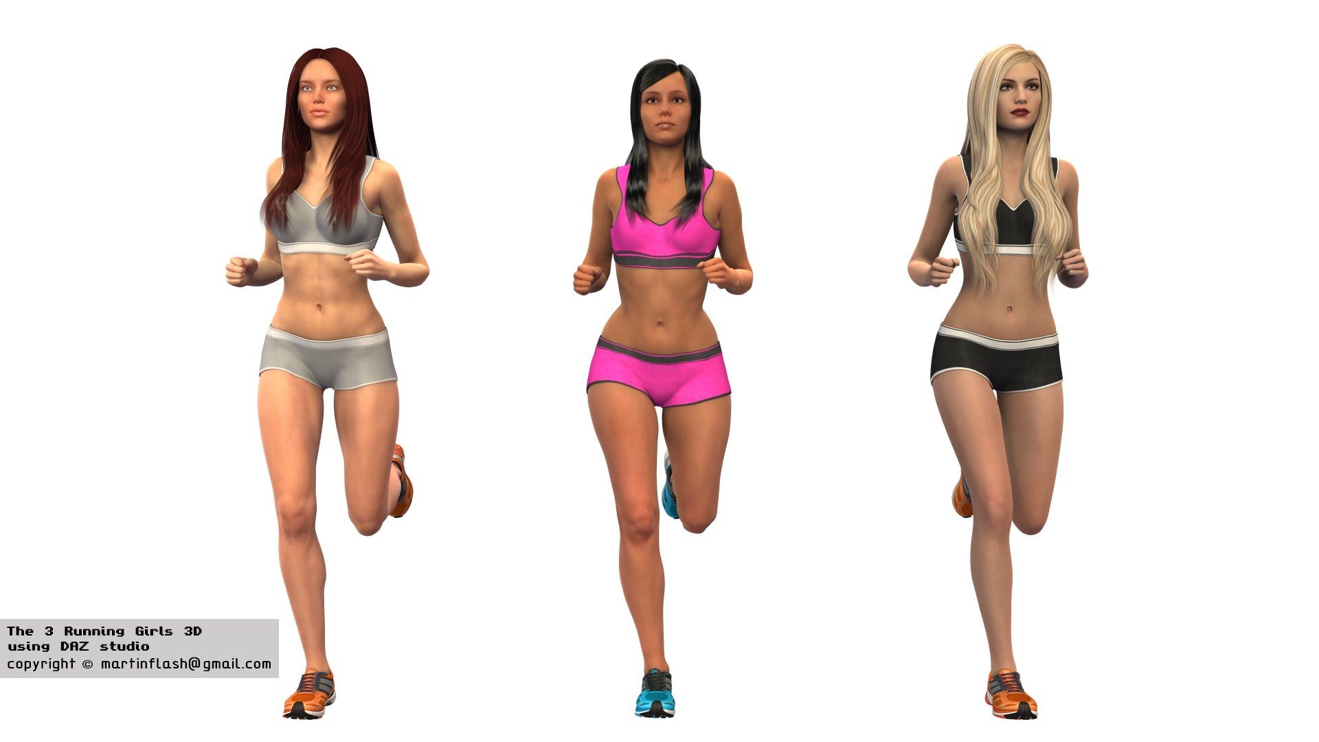 3 running girls 3D rendered in DAZ studio - YouTube