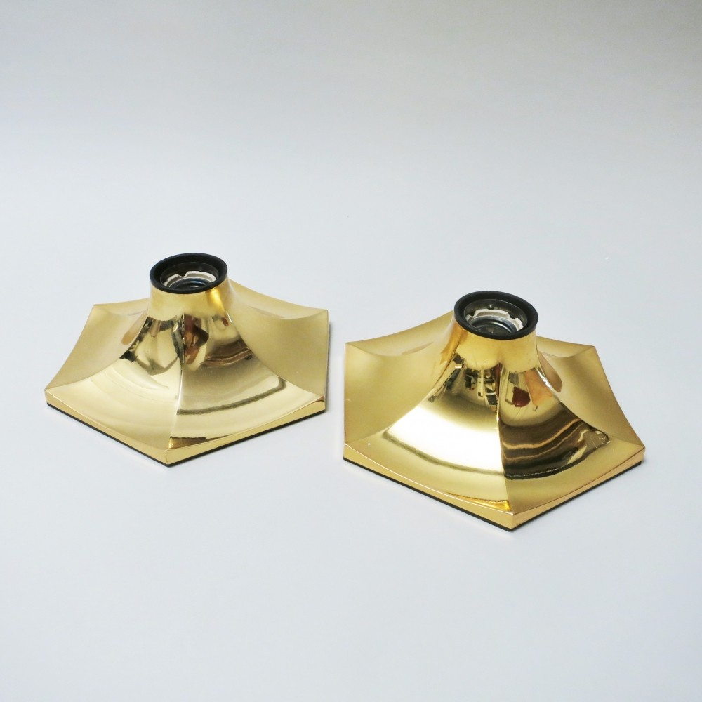 Pair of Hexagonal wall lamps by Fosnova, 1970s | #56981