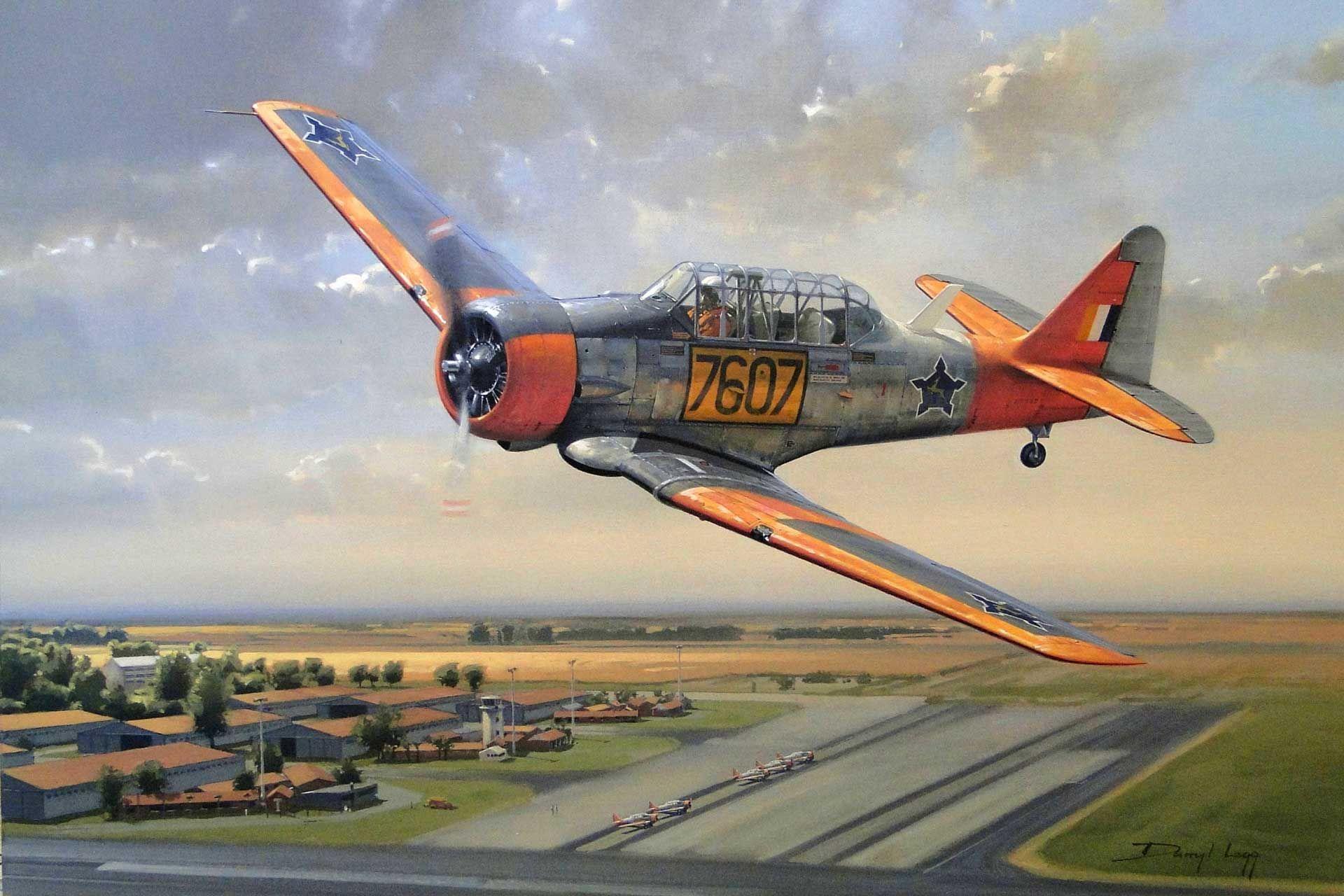 North American Harvard A flying legend - SAAF Harvard 7607 flies low ...