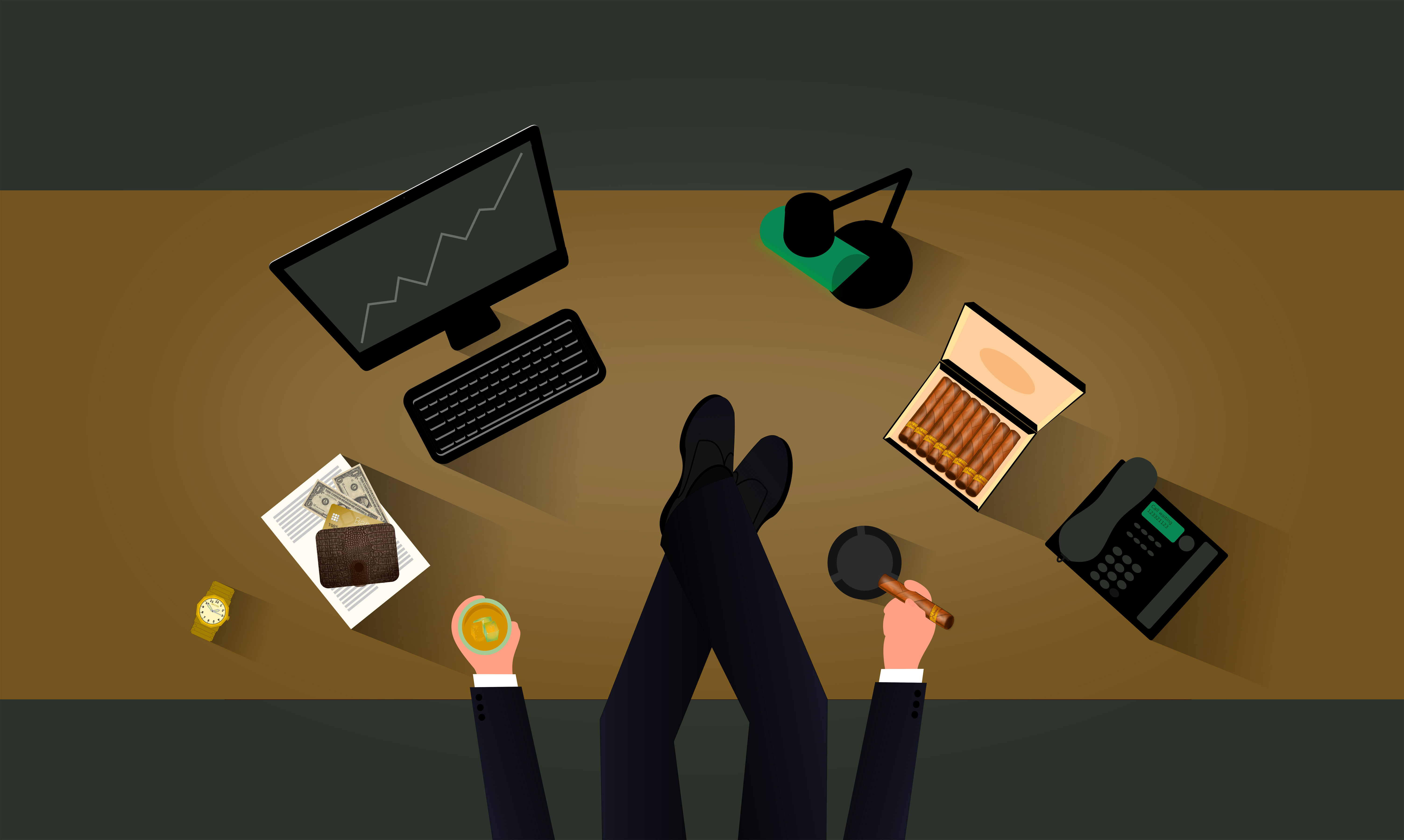 A boss at the desk, 3d, Paper, Resting, Rest, HQ Photo