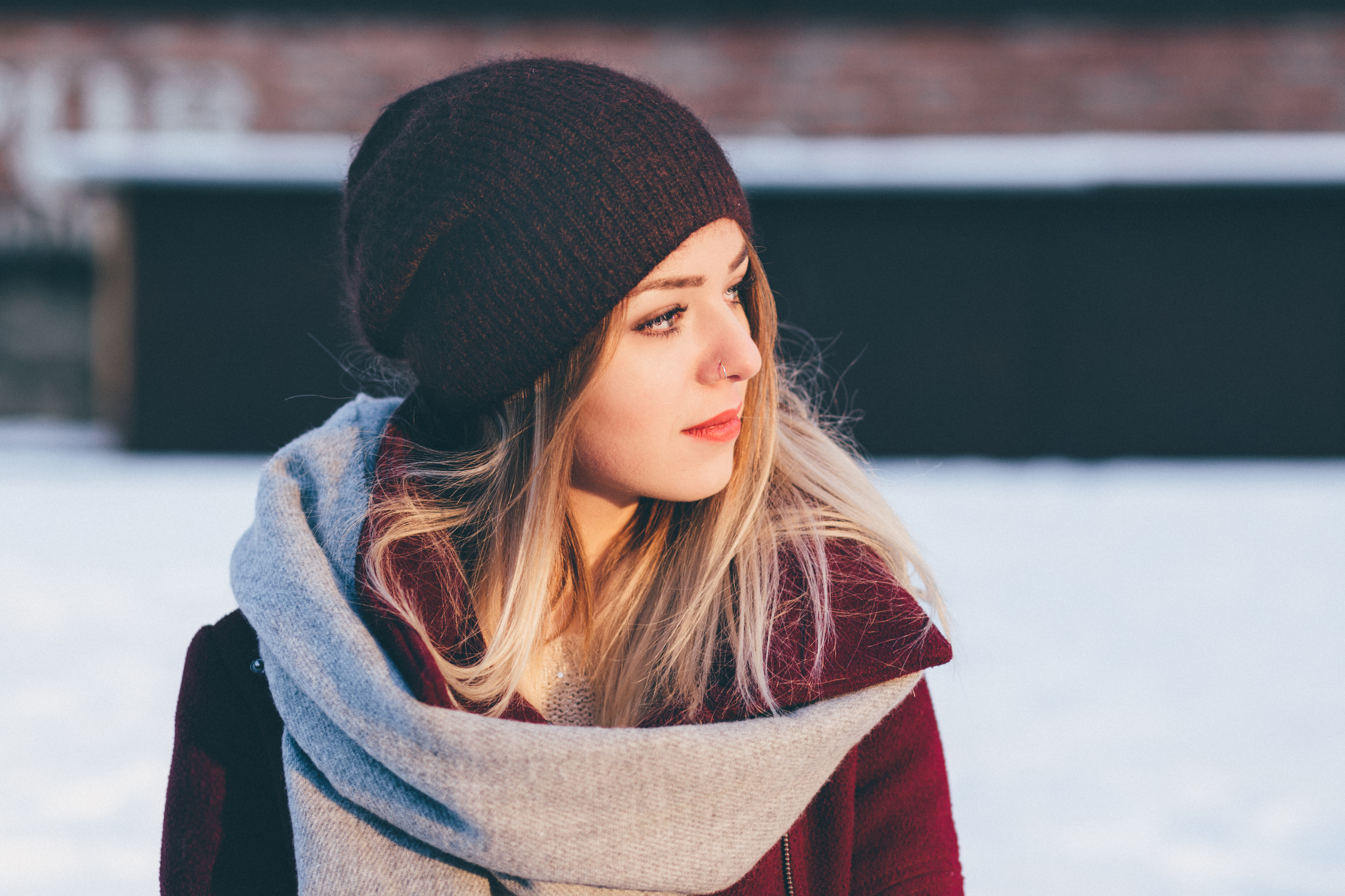 A girl winter portrait, Beautiful, Style, Scarf, Scene, HQ Photo