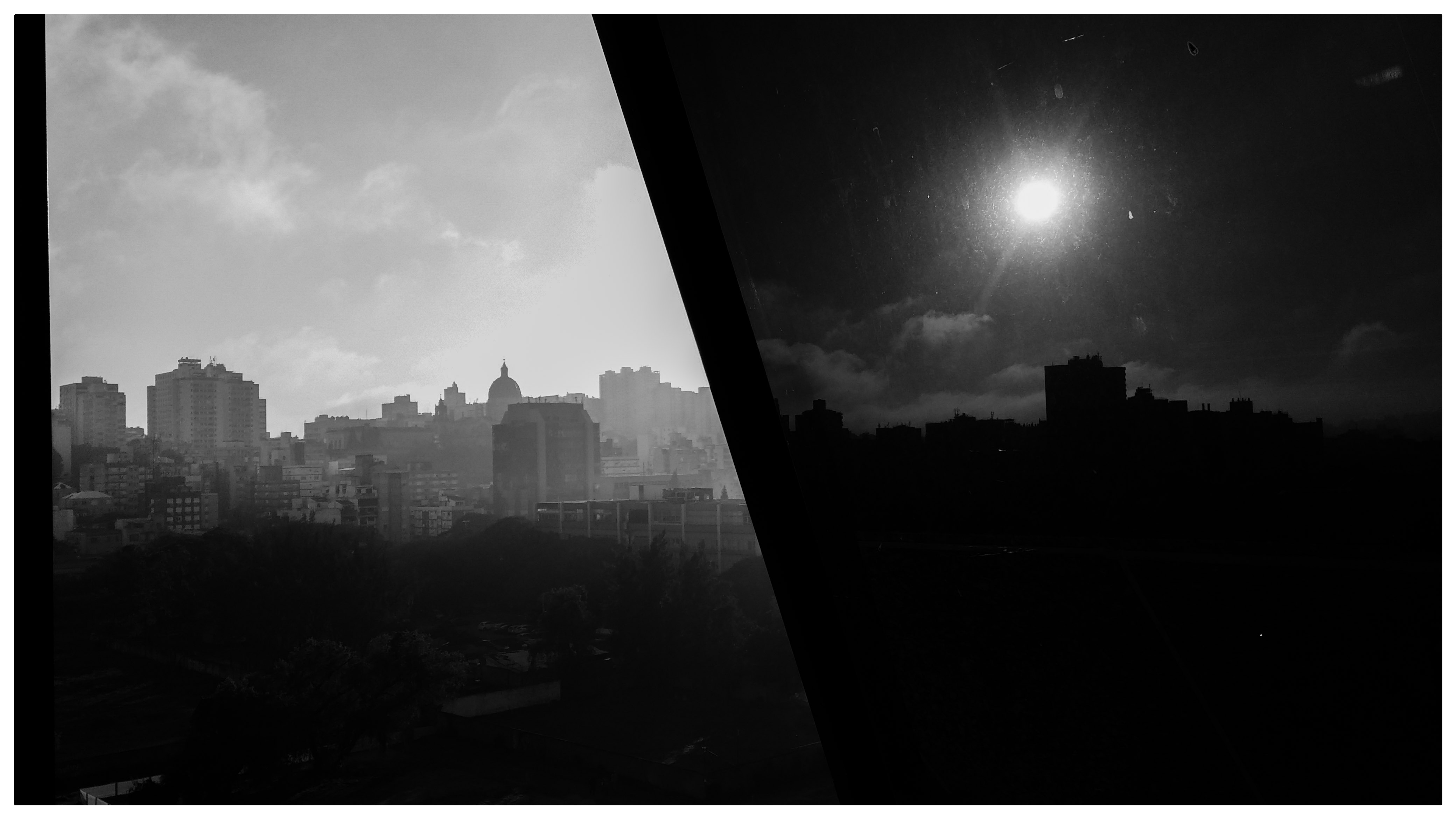 A morning of moonlight, Blackandwhite, B&w, Cityscape, Day, HQ Photo