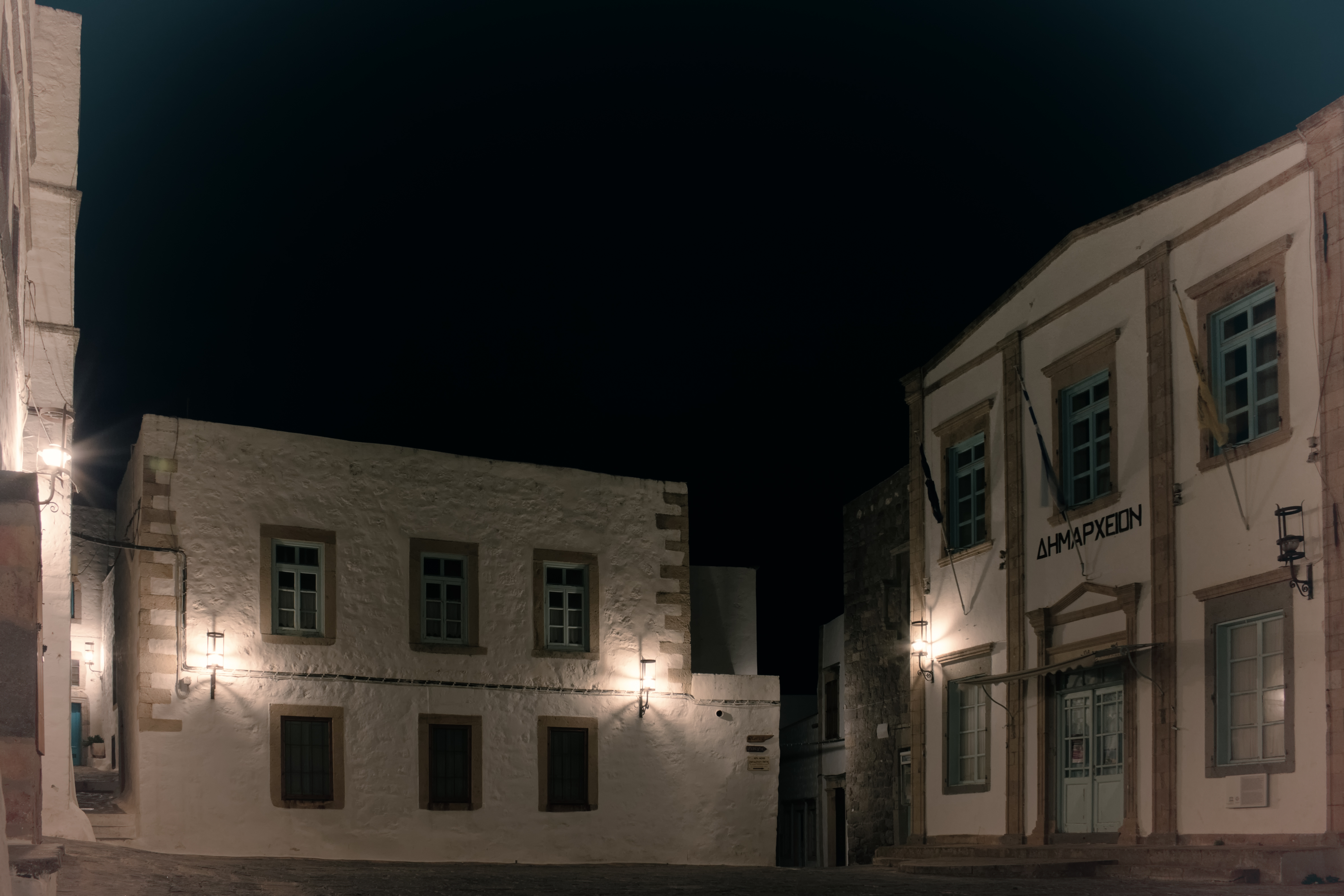 A night in the square, 500d, Greece, Patmos, Nighttime, HQ Photo