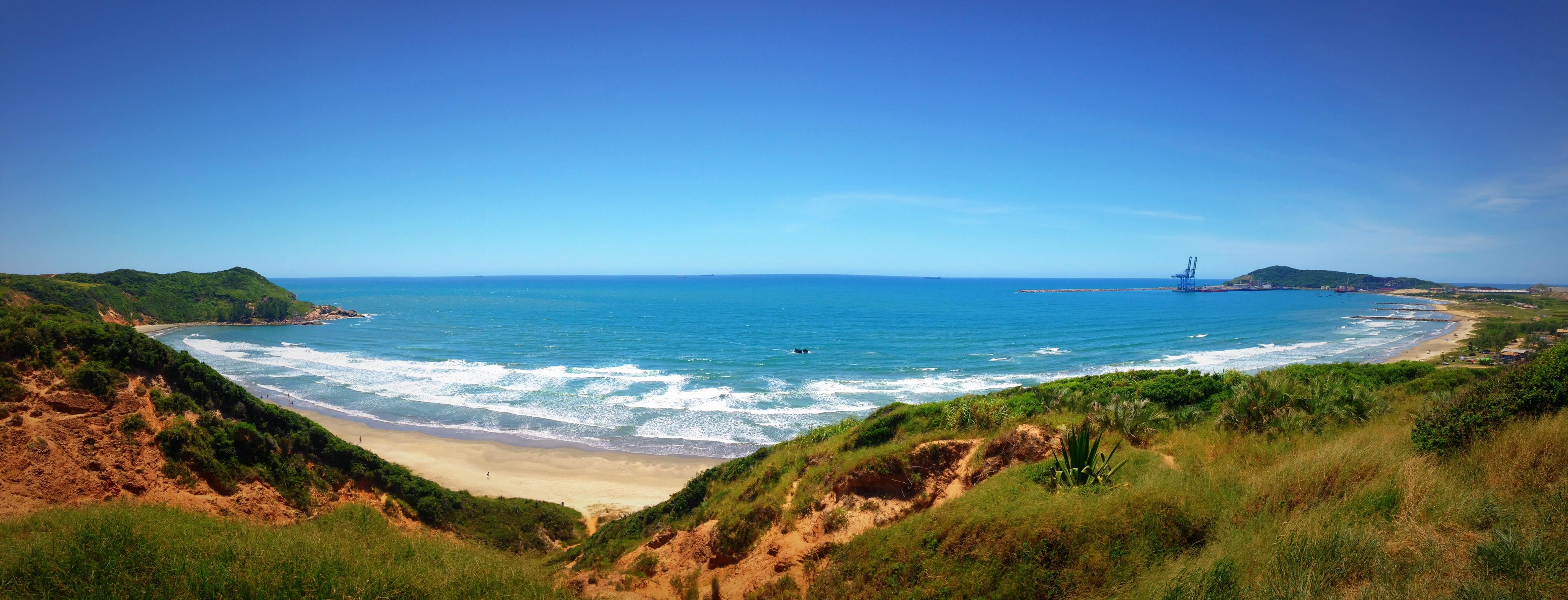 A panoramic view of Porto Beach (Praia do Porto) - Imbituba, SC, Brazil, Beach, Port, South America, Shore, HQ Photo