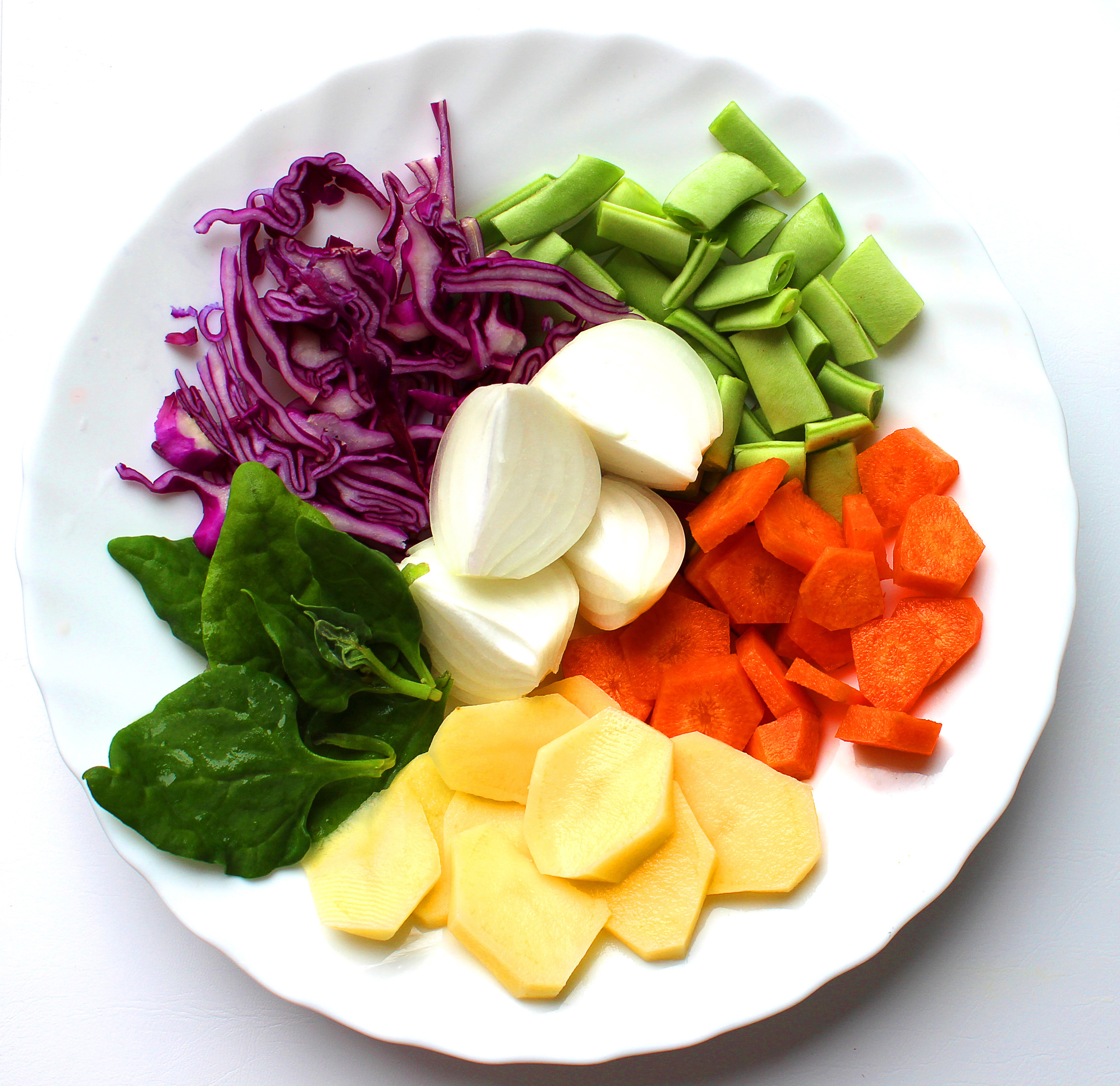 A plate with basic soup ingredients photo