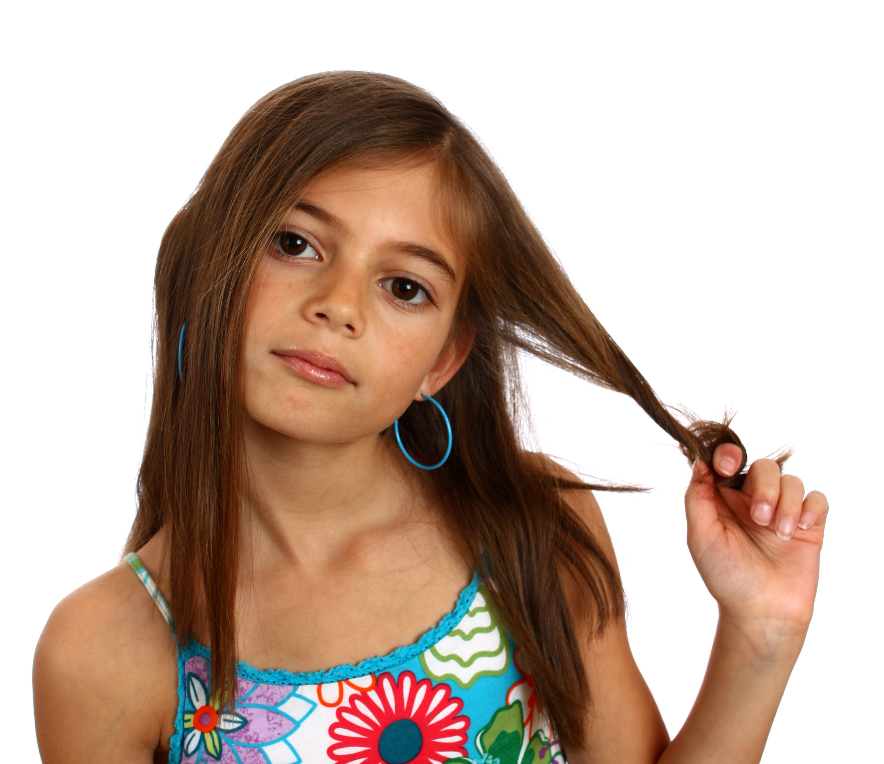 A pretty young girl pulling on her hair, Beautiful, Kids, Wondering, Thoughtful, HQ Photo