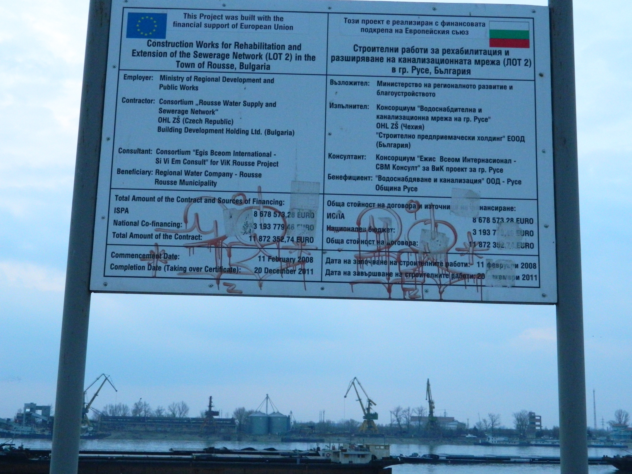 A Sign Near To Danube River, Industrial, Sign, Harbor, Cranes, HQ Photo