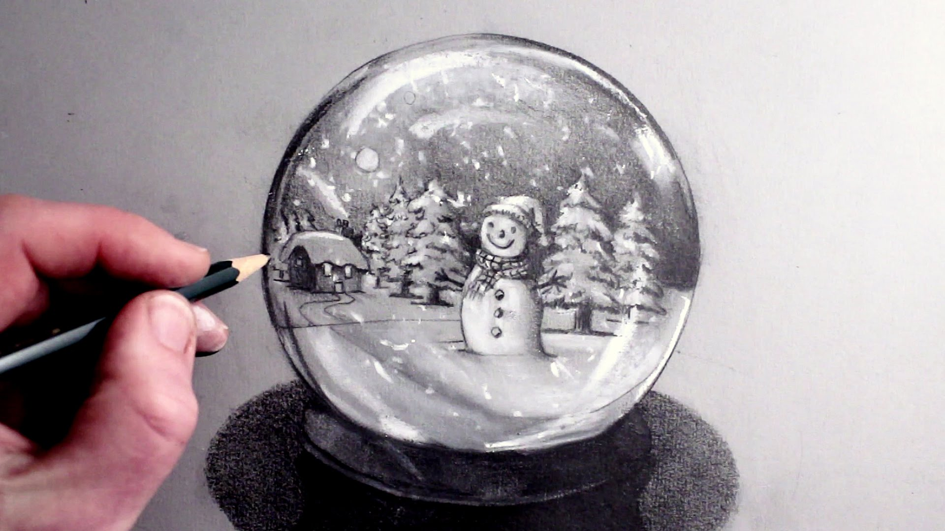 How to Draw a Snowman in a Snow Globe - YouTube