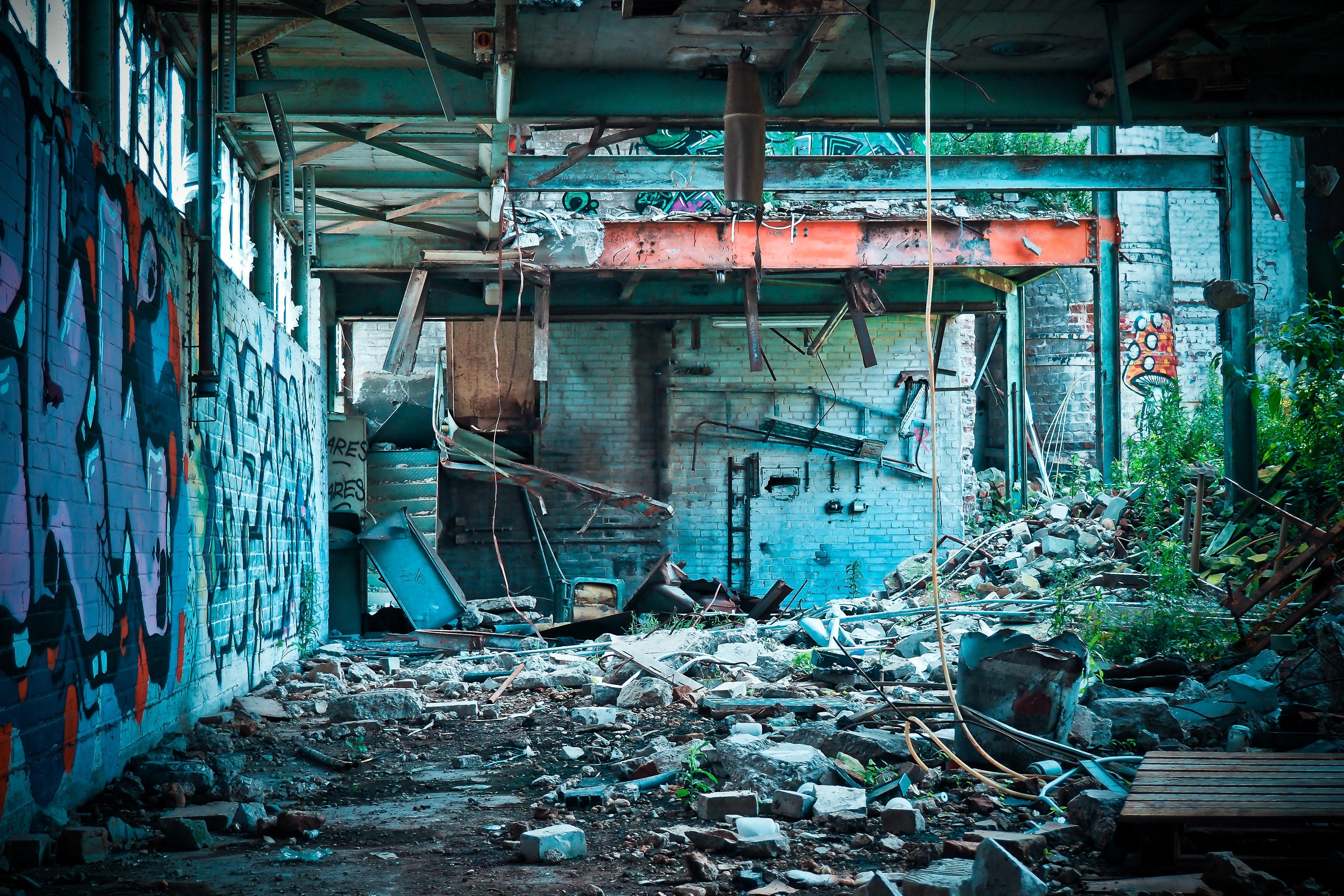 Abandon Concrete Building during Daytime, Street art, Vandalism, Rocks, Graffiti, HQ Photo