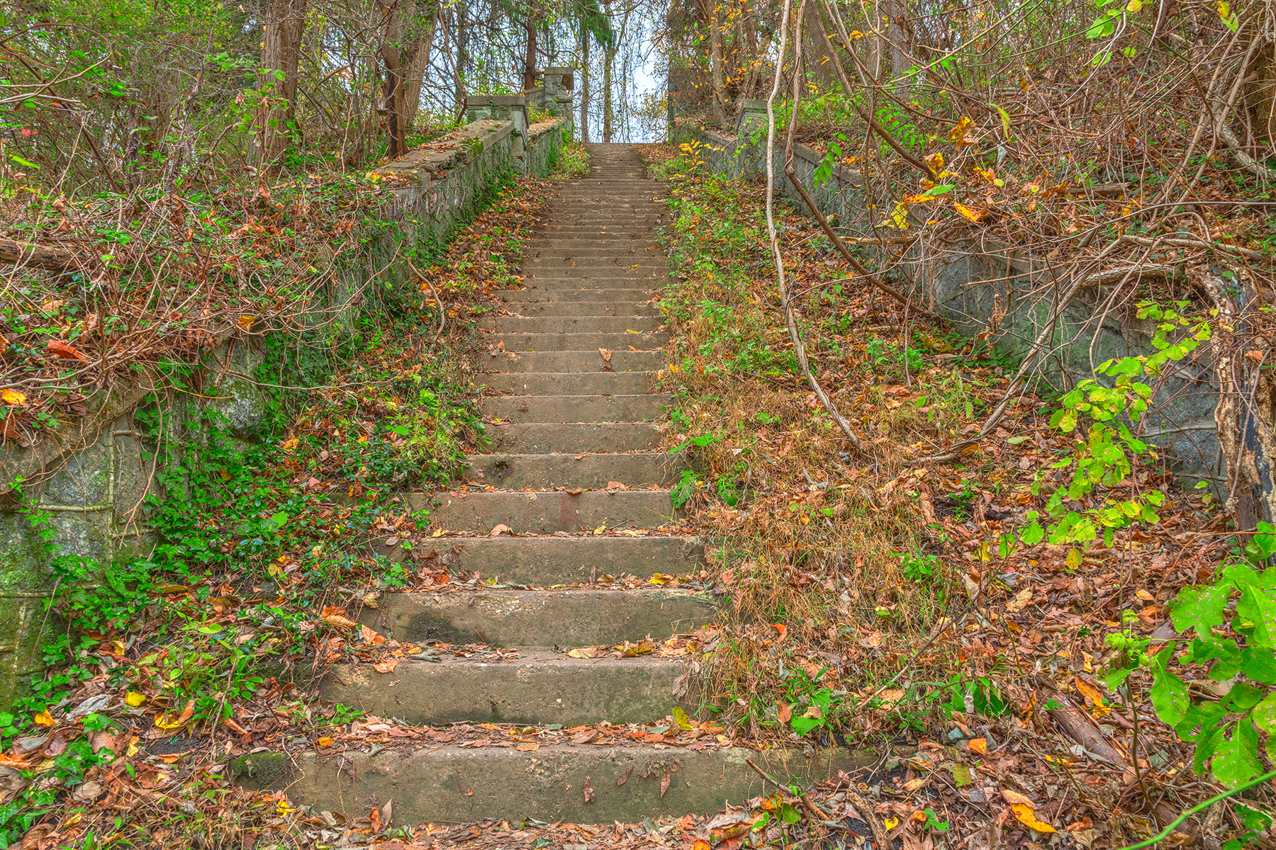 Abandoned autumn stairway - hdr photo