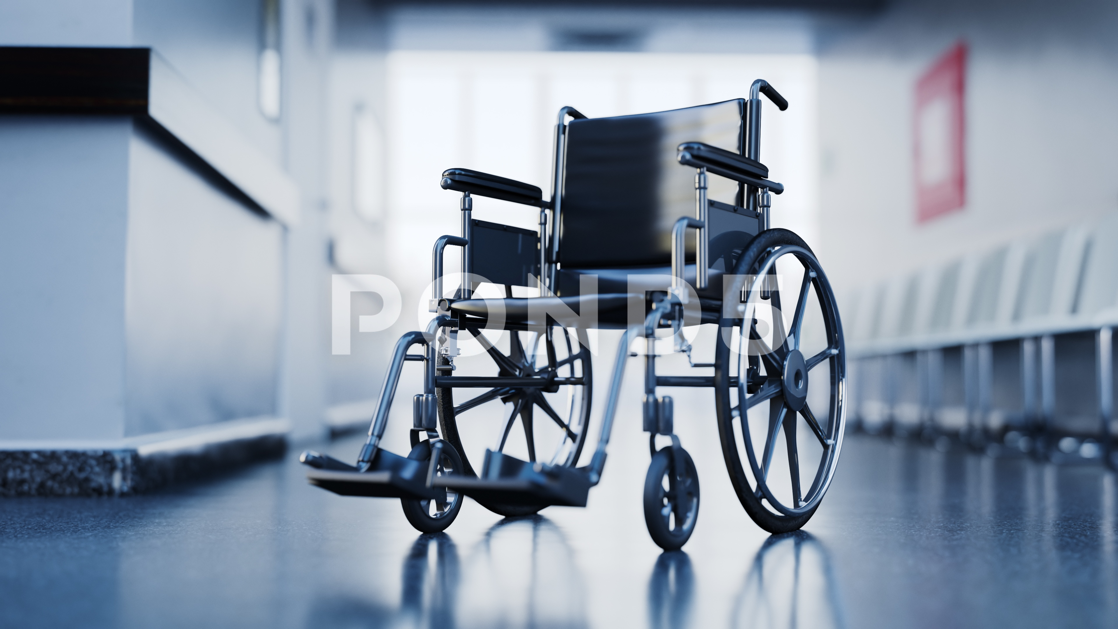 Abandoned wheelchair in empty hospital waiting room. ~ Hi Res #82808061