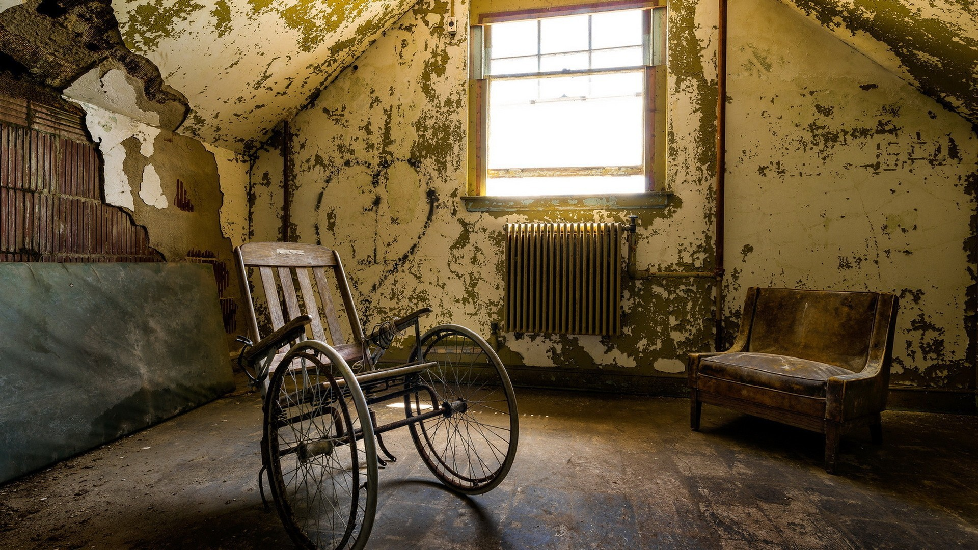 Empty wheelchair in an abandoned house wallpapers and images ...