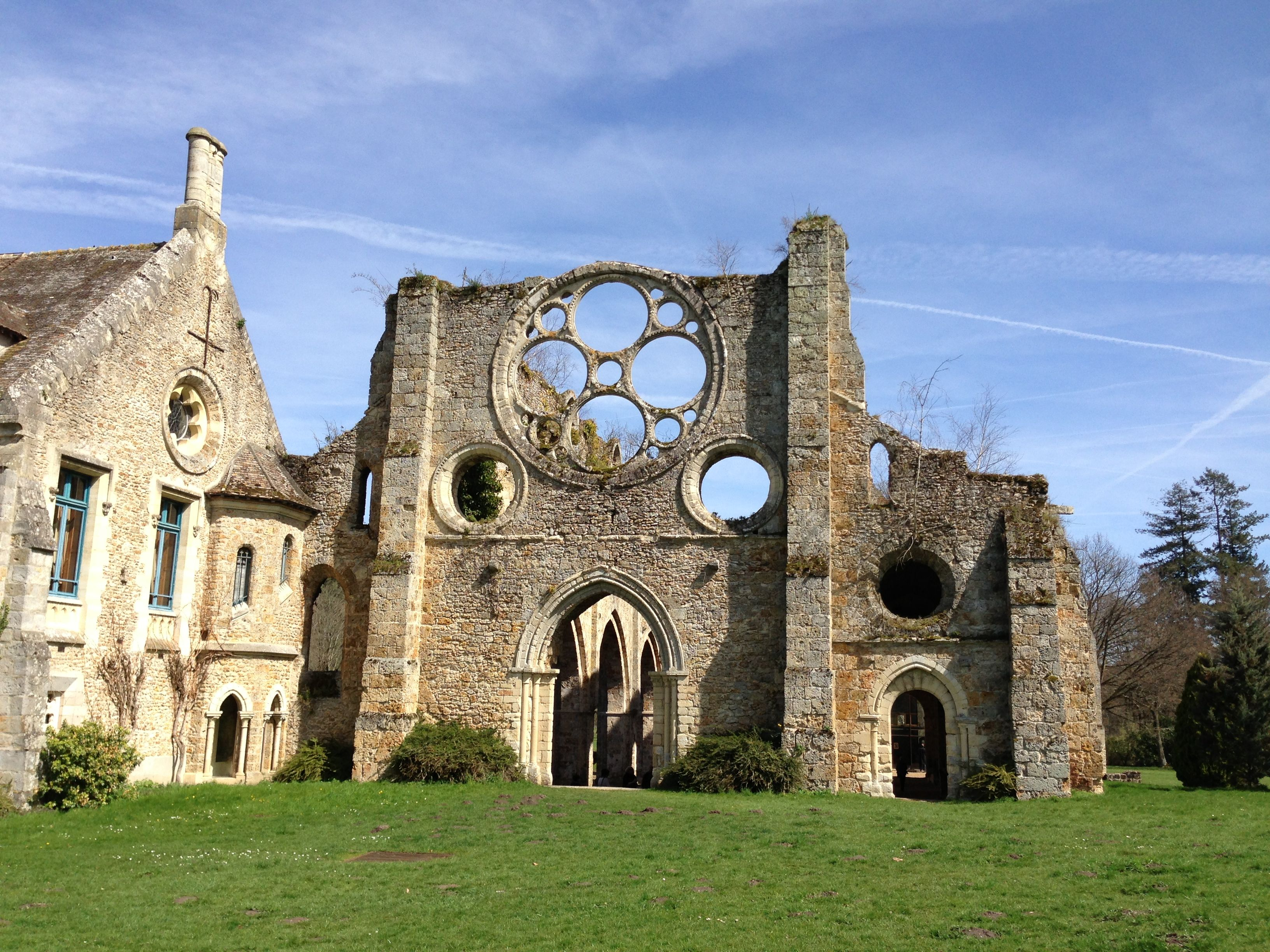 Vaux de Cernay Abbey, Old Ruins on a Sunny Day -