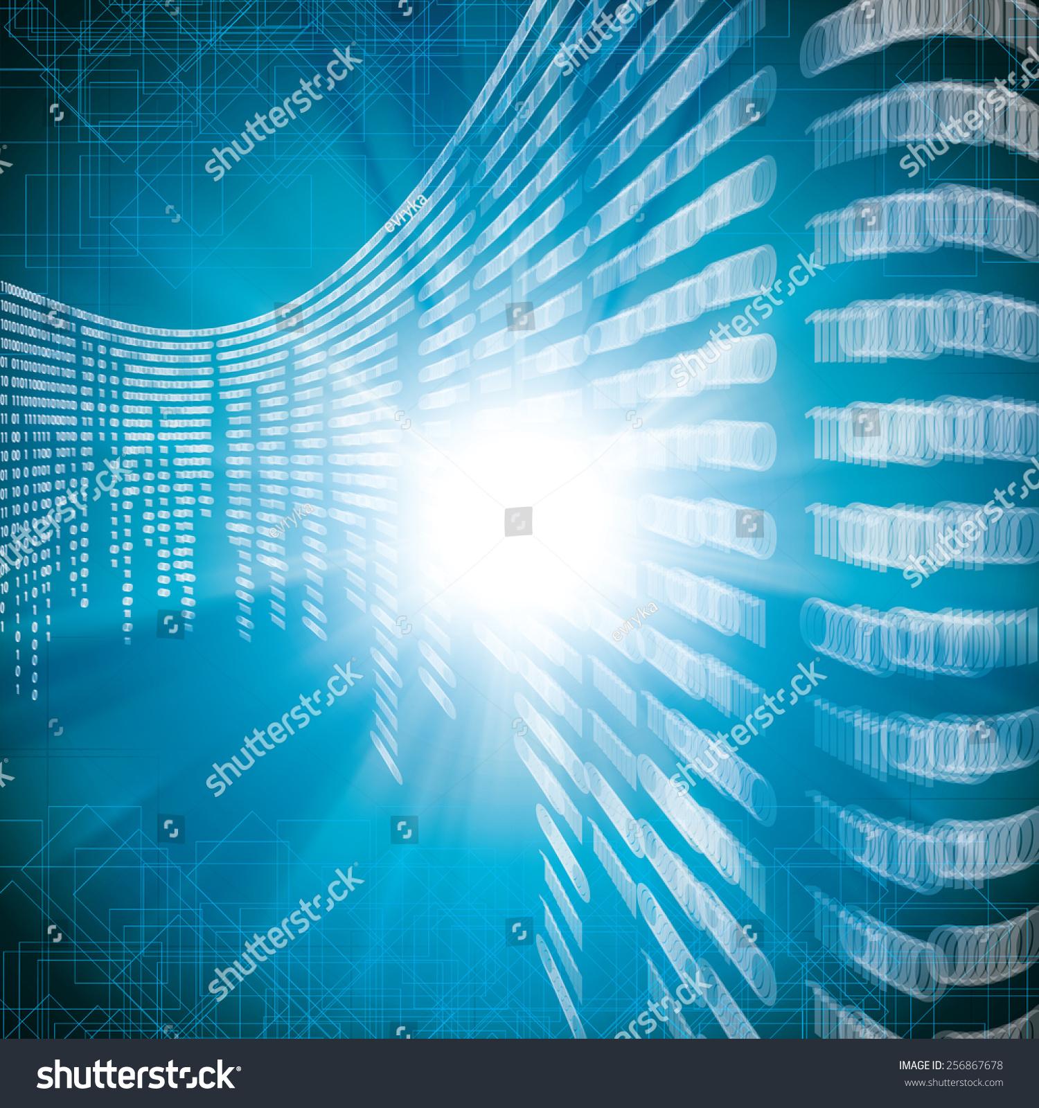 Abstract Tech Blur Blurry Binary Blue Stock Vector 256867678 ...