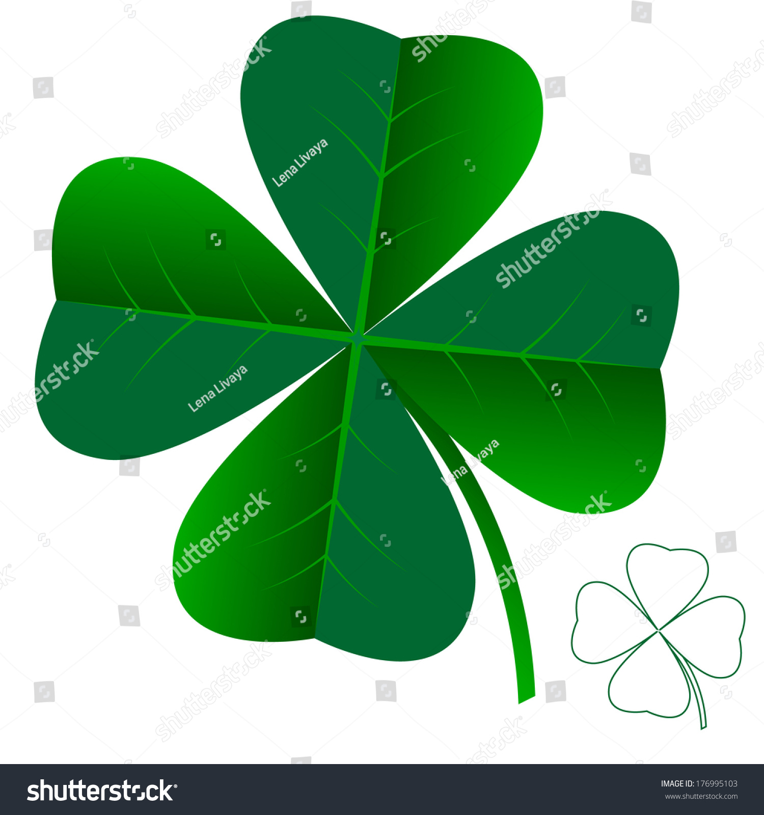 Abstract Clover Leaf Isolated On White Stock Illustration 176995103 ...