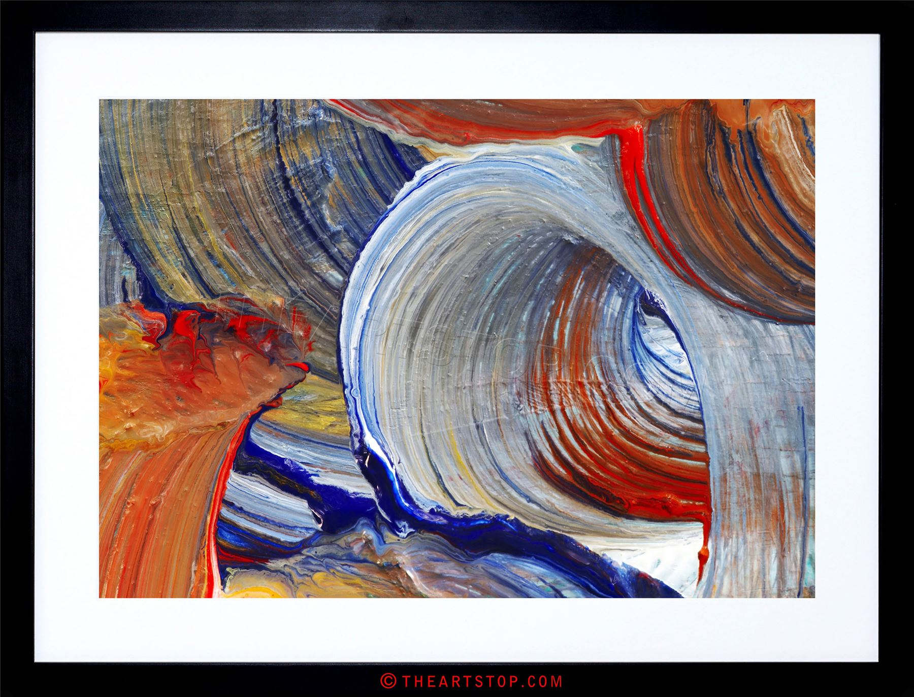 PAINTING SWIRL PATTERN COLOUR PAINT BLEND ABSTRACT FRAMED PRINT ...