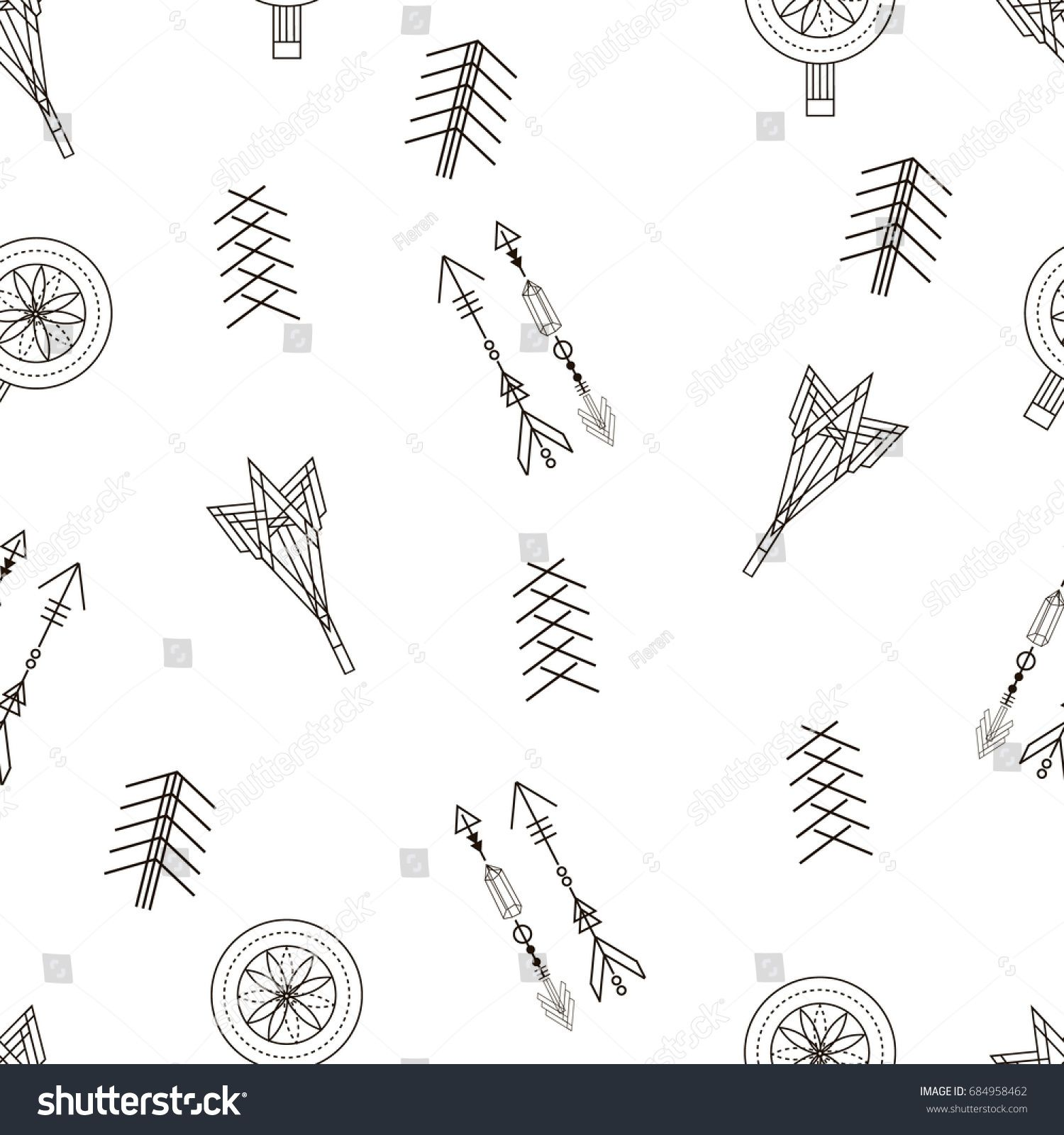 Trendy hipster seamless pattern. Retro style texture, pattern with ...