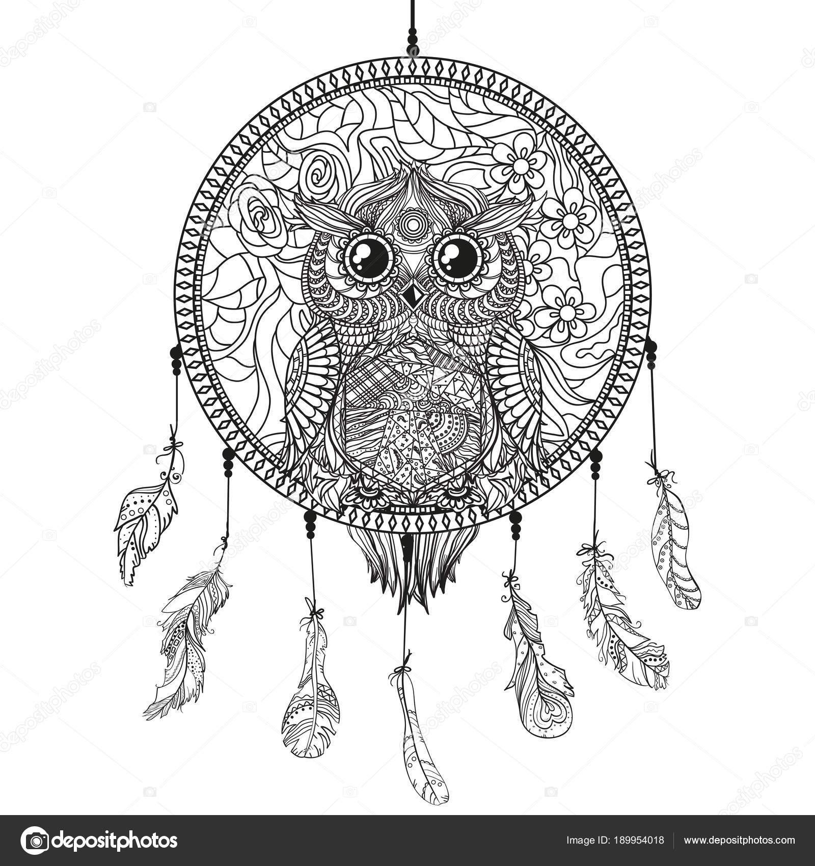 Dreamcatcher Owl Zentangle Abstract Bird Line Art Mystic Symbol ...