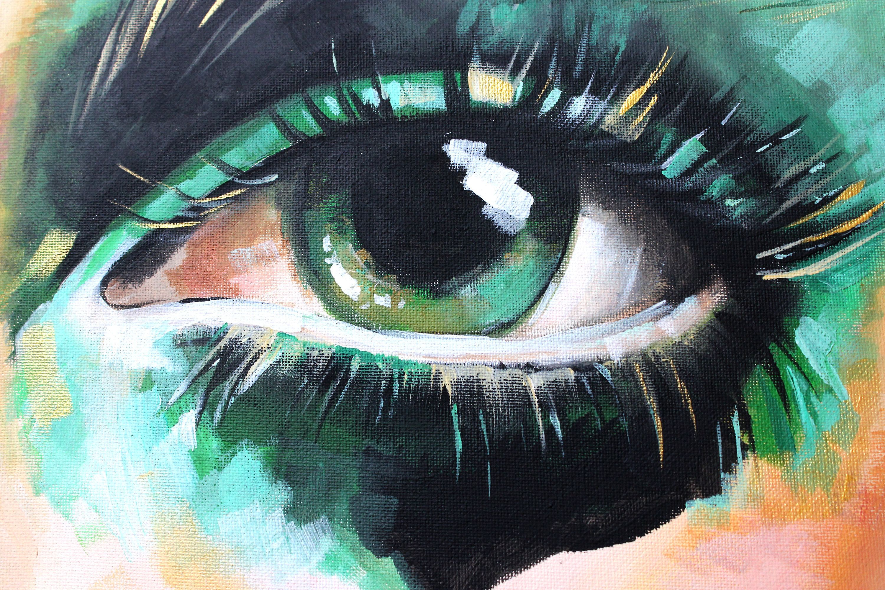 Acrylic Painting on Canvas - Contemporary Eye Painting, Editorial ...