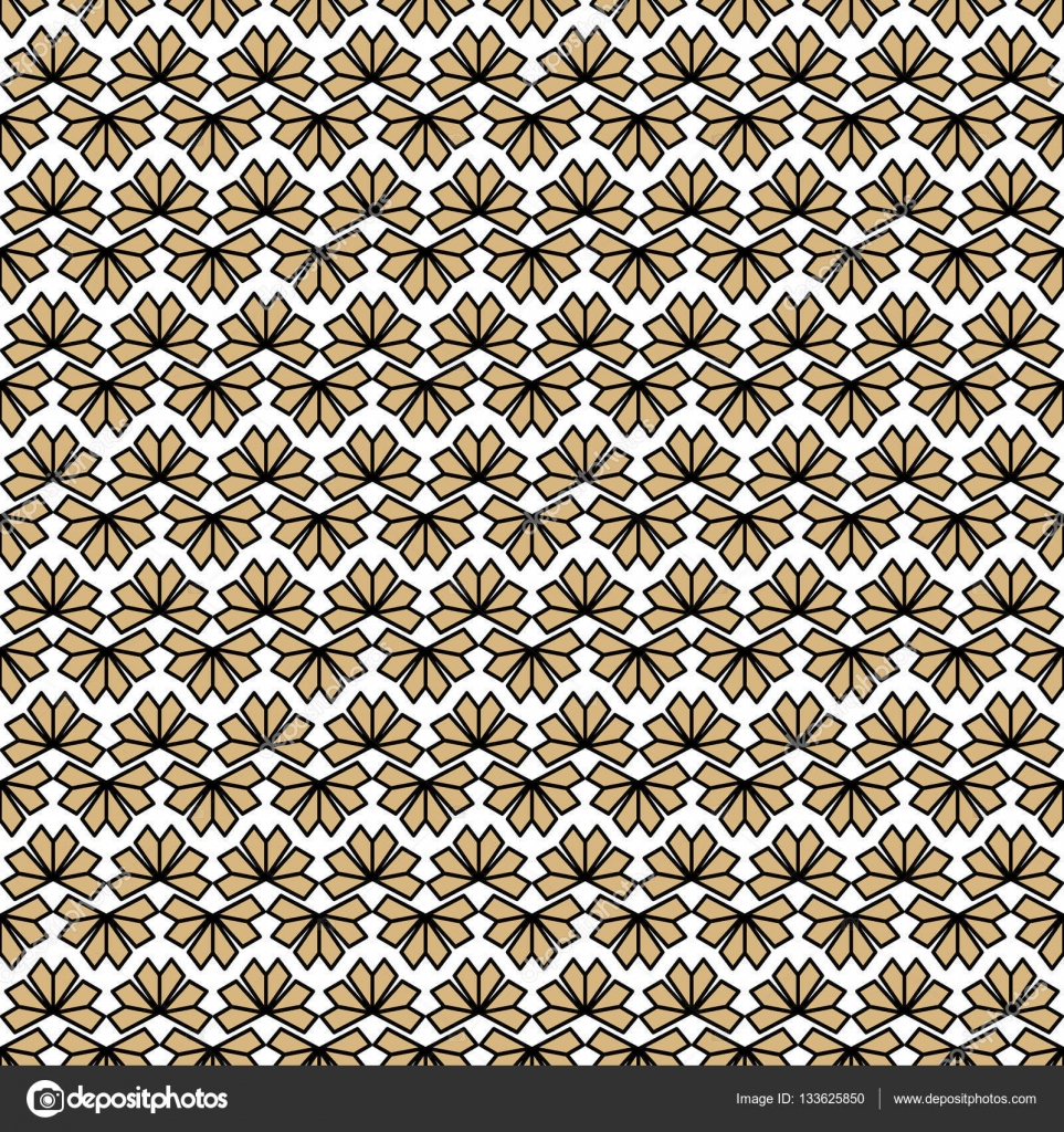 Gold black white texture vector. Modern oriental geometric flowers ...