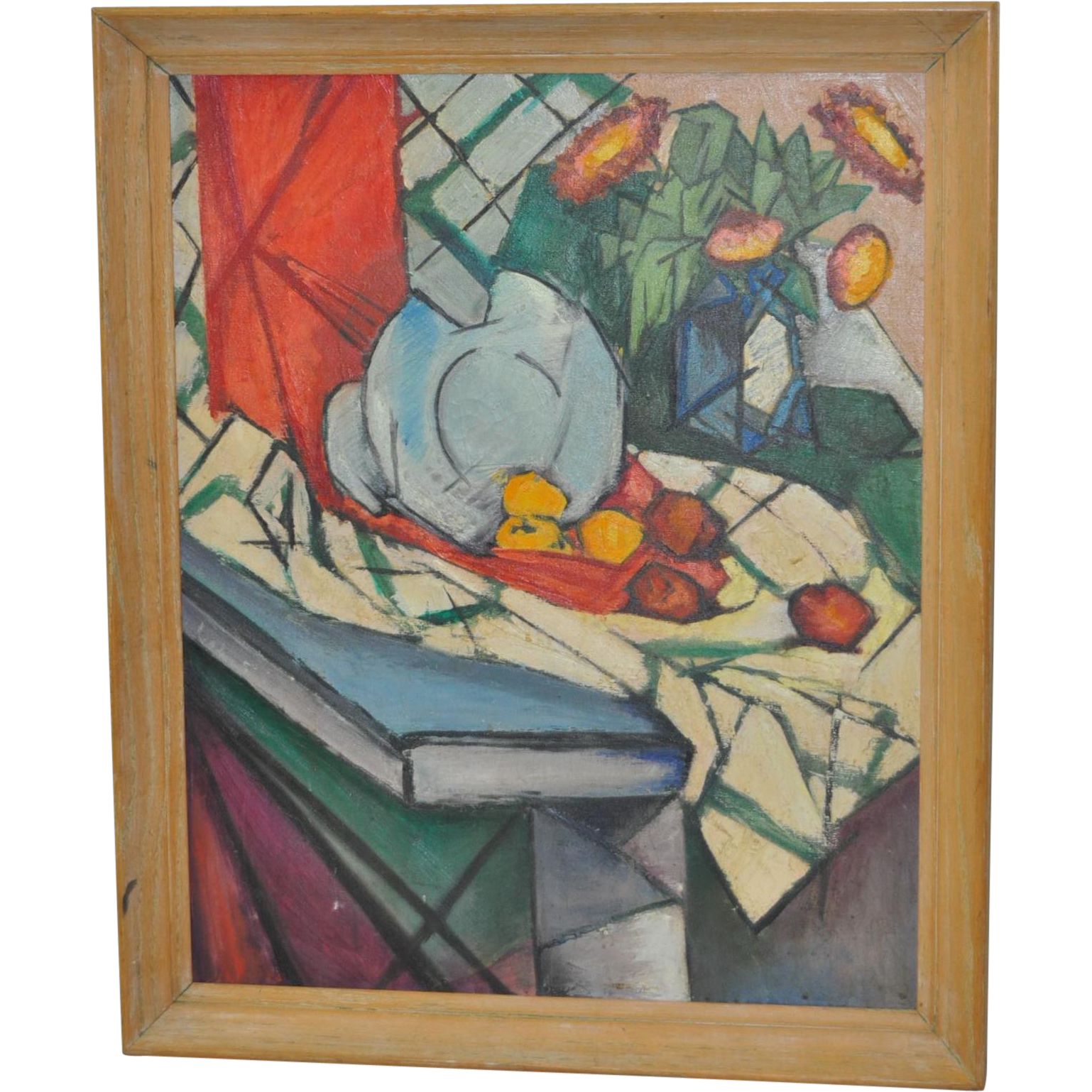 Vintage Mid Modern Abstract Still Life Painting c.1950's : Antique ...
