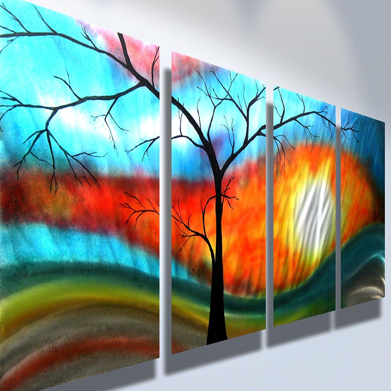 Amazon.com: Metal Wall Art, Modern Home Decor, Abstract Artwork ...