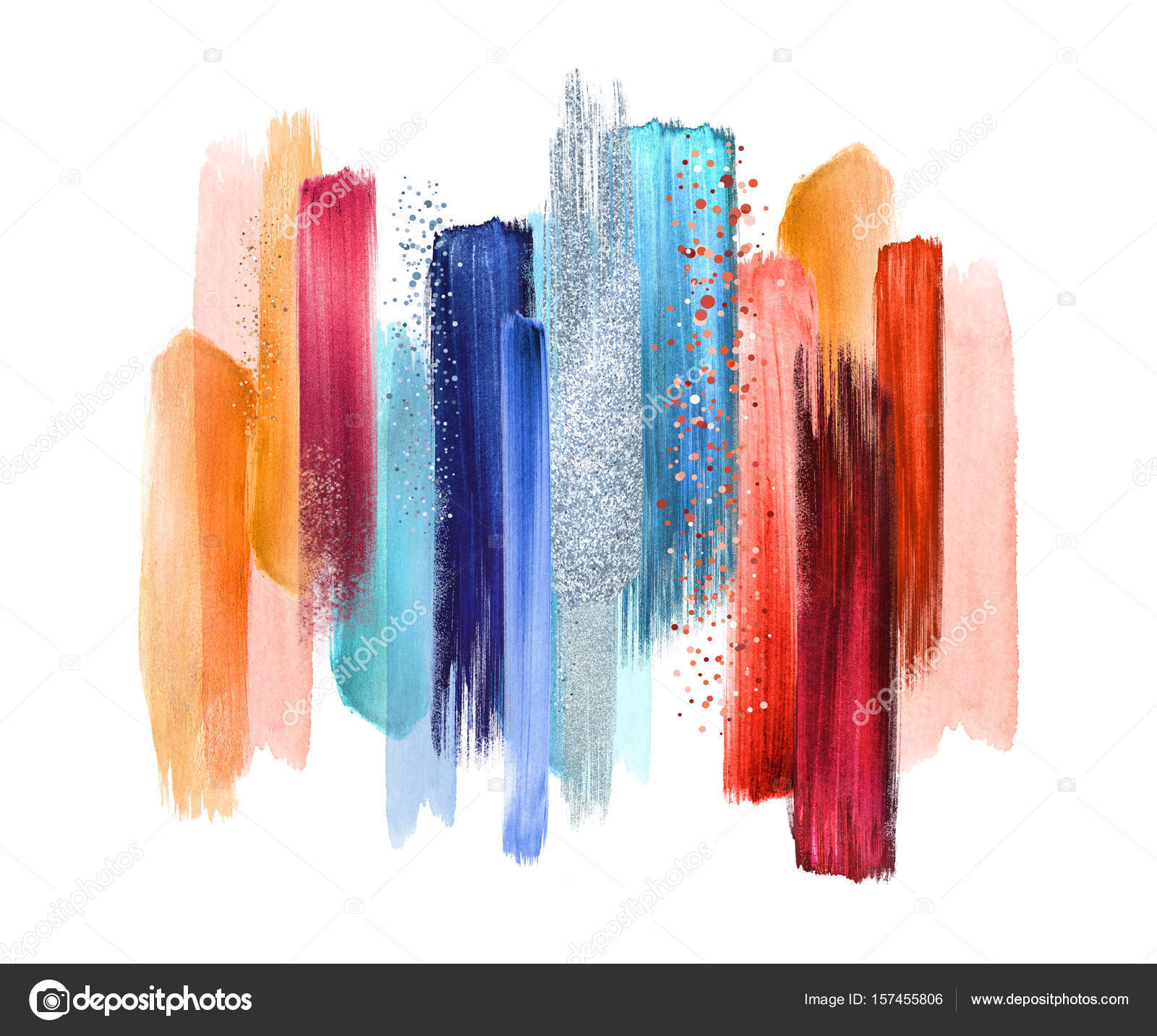 abstract watercolor brush strokes isolated on white background ...