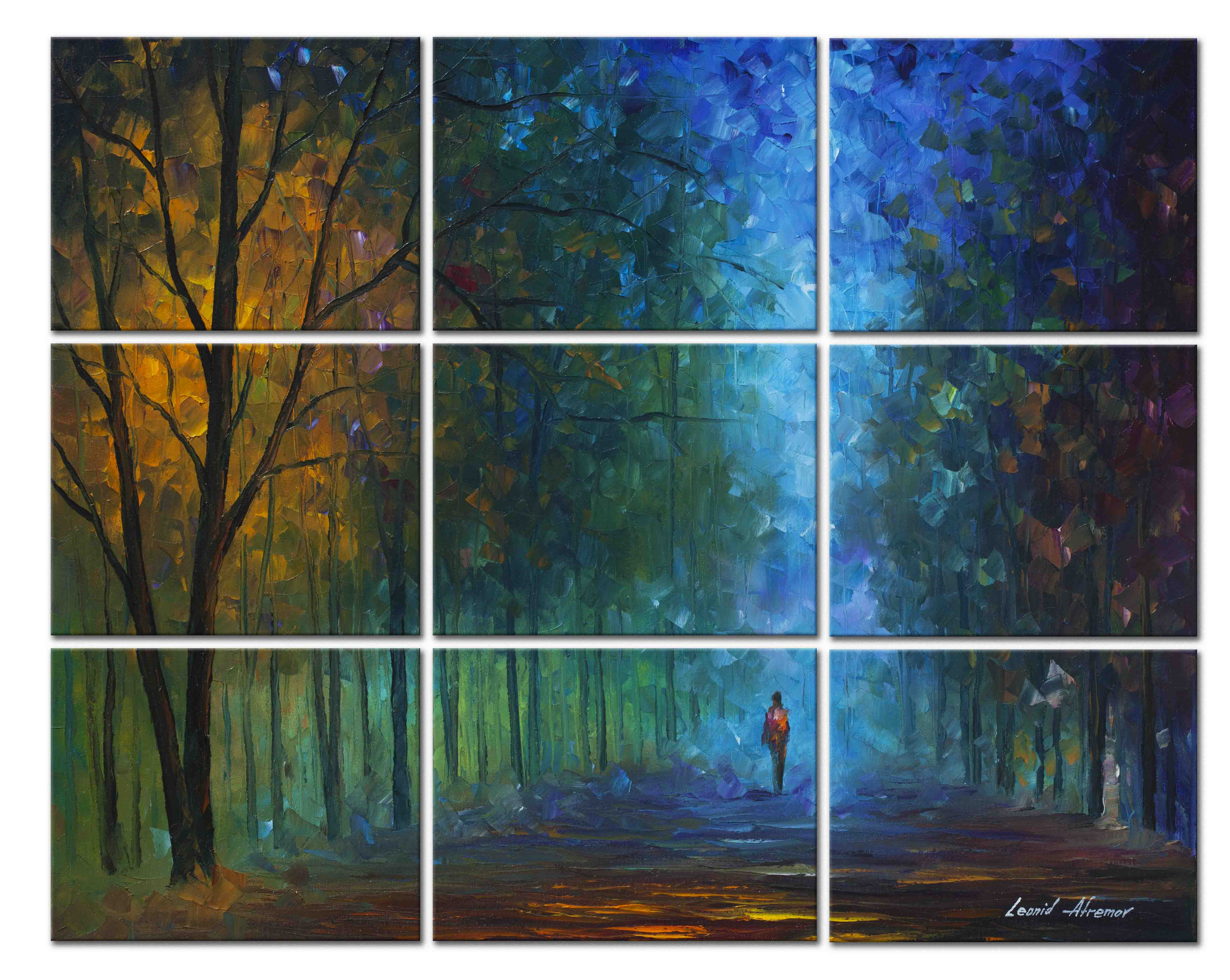 Night Alley— PALETTE KNIFE Oil Painting On Abstract Canvas Art By ...