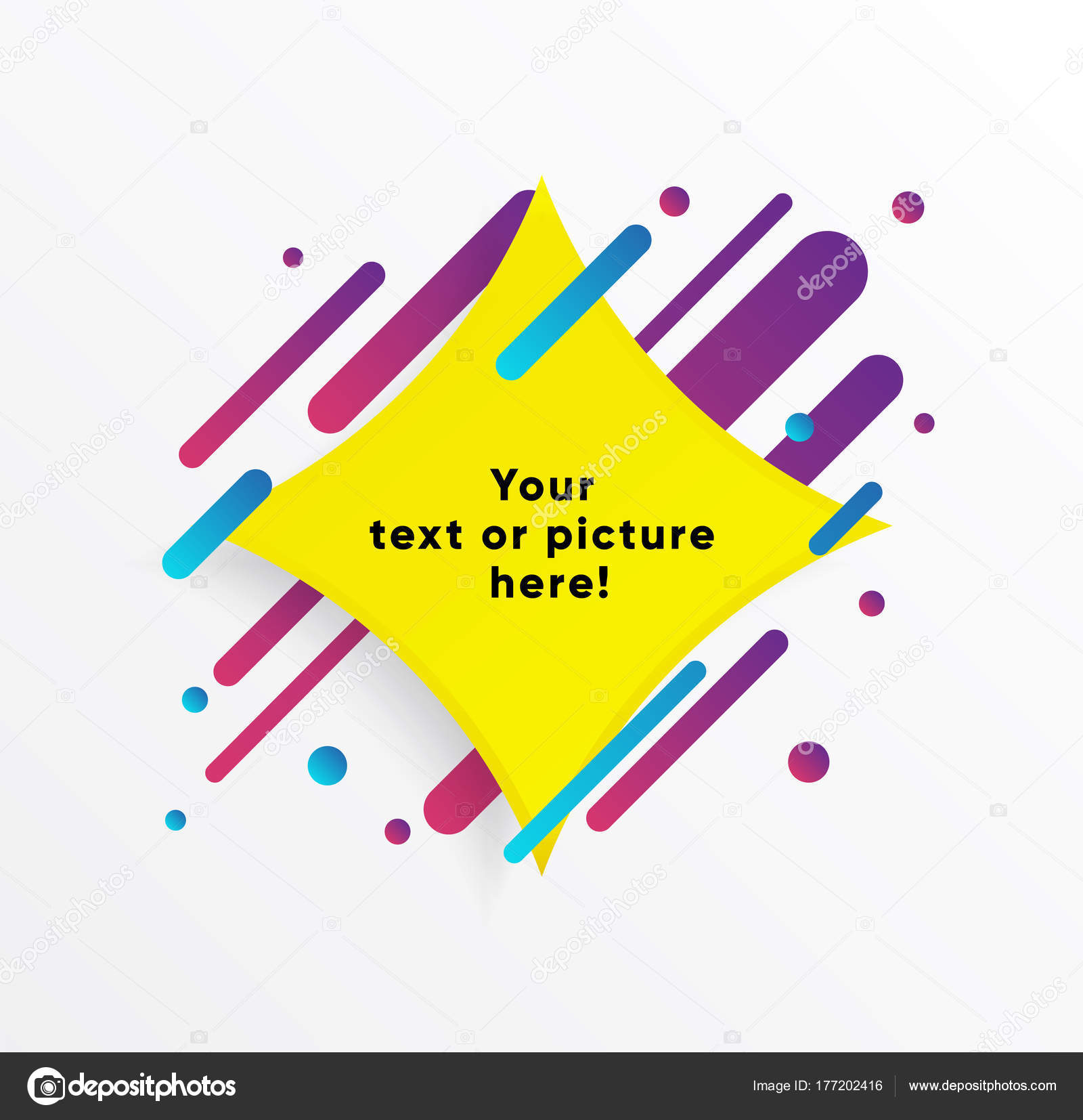 Vector Background Yellow Abstract Shape Trendy Neon Lines Circles ...