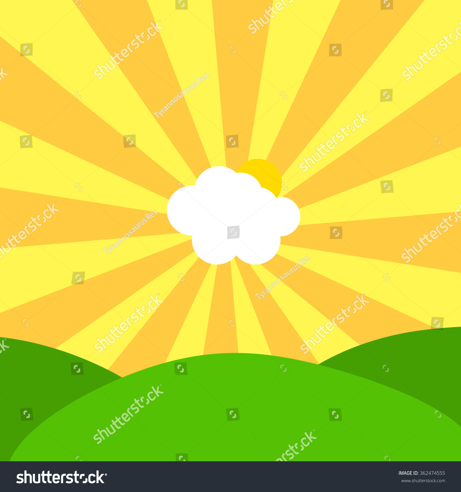 Abstract Illustration Cloud Sun Centre Yellow Stock Illustration ...