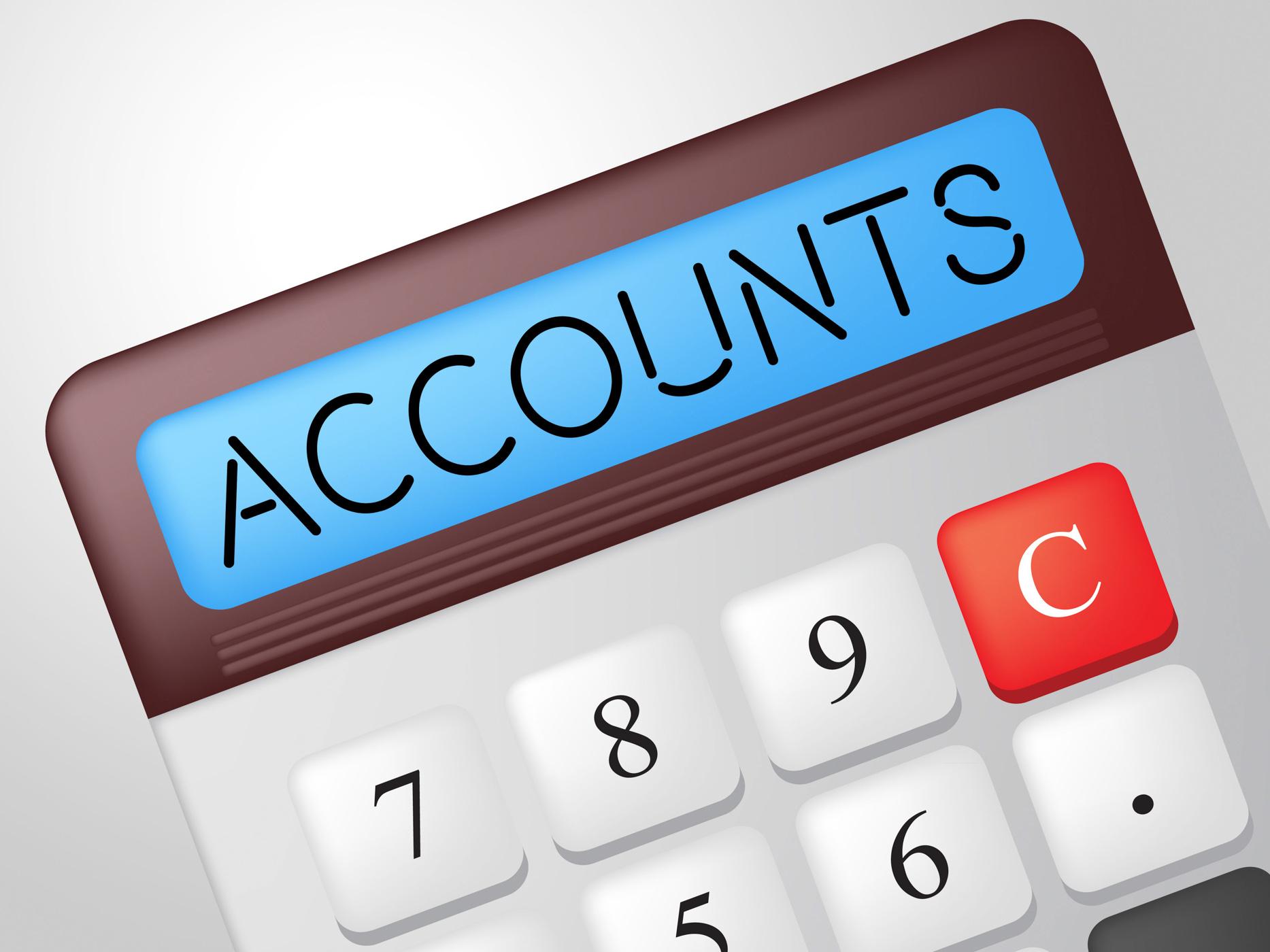 Accounts Calculator Indicates Balancing The Books And Accounting Calculations Calculation Calculate