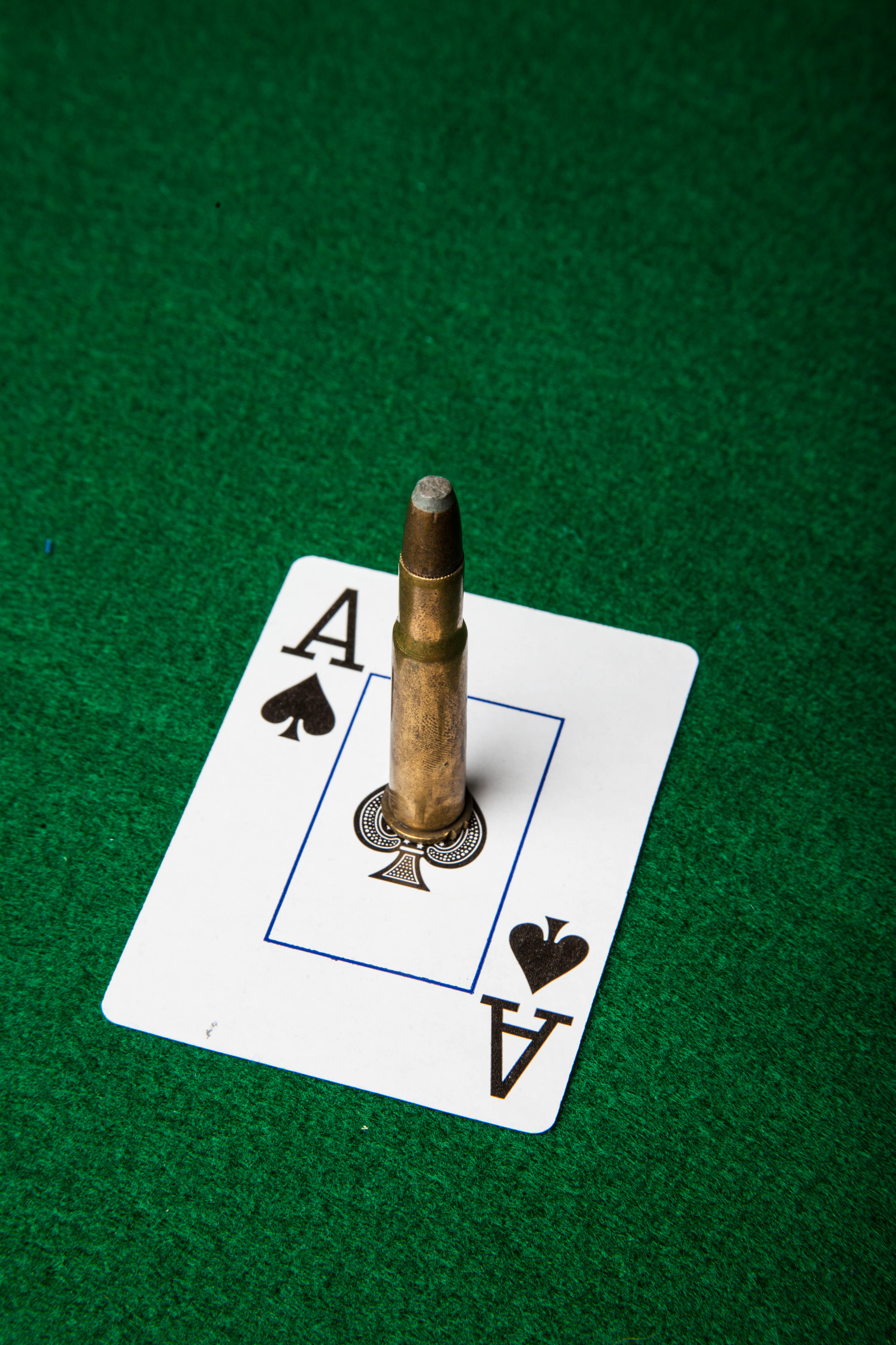 Ace of spade with bullet, Ace, Gambling, Threat, Table, HQ Photo