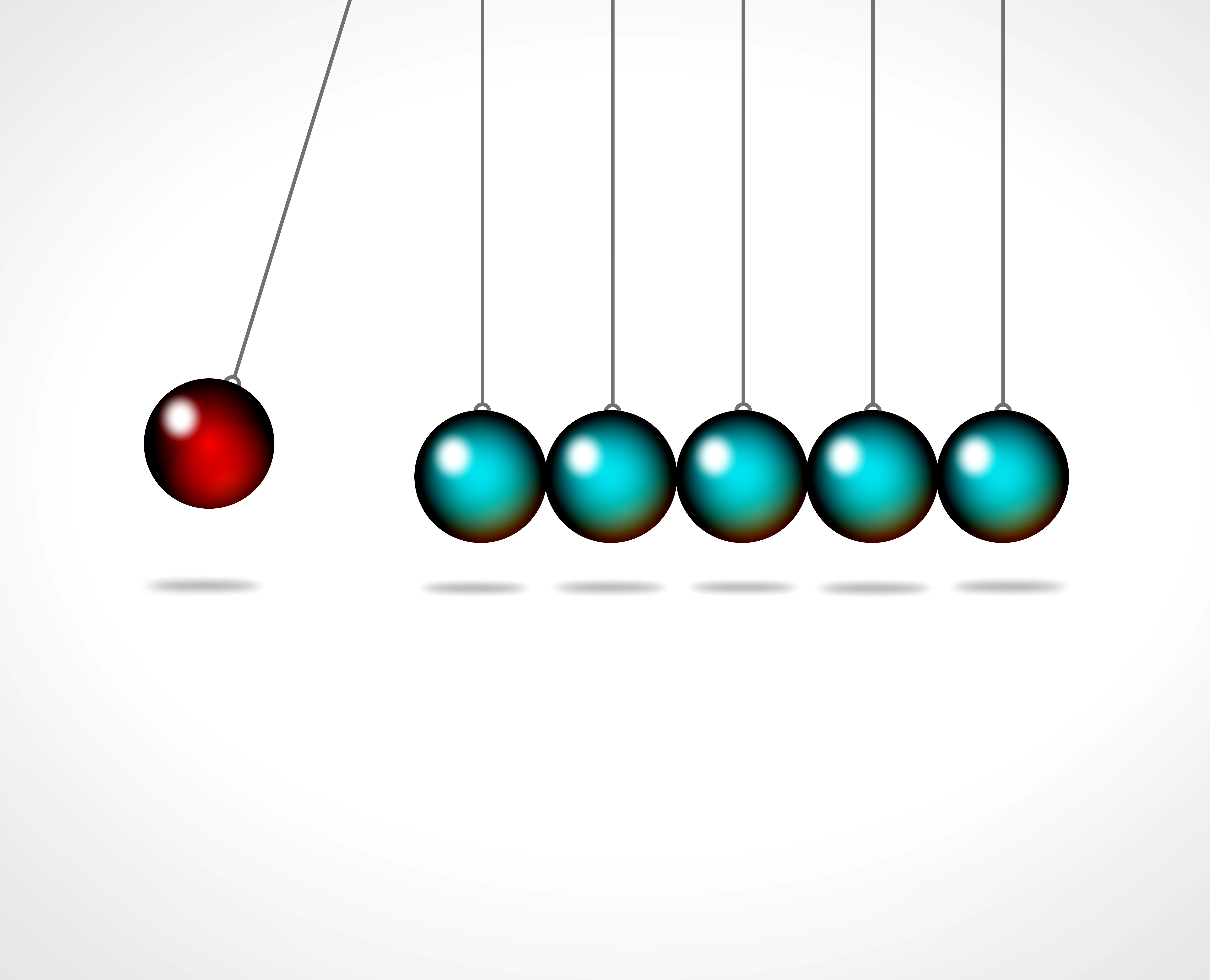 Action and reaction - Go viral concept with Newtons cradle, Accuracy, Out, Reaction, Push, HQ Photo