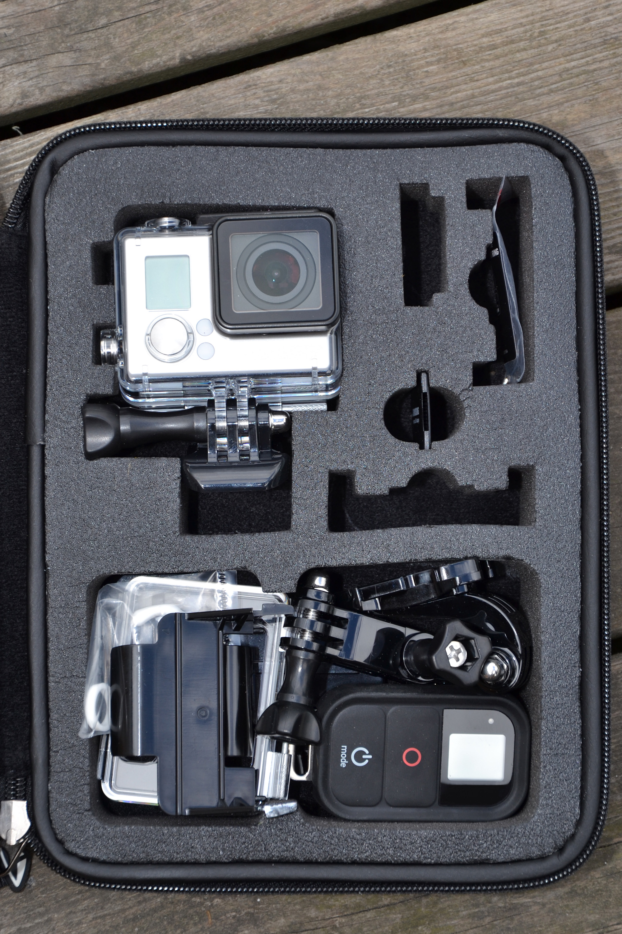 Action camera in a case photo