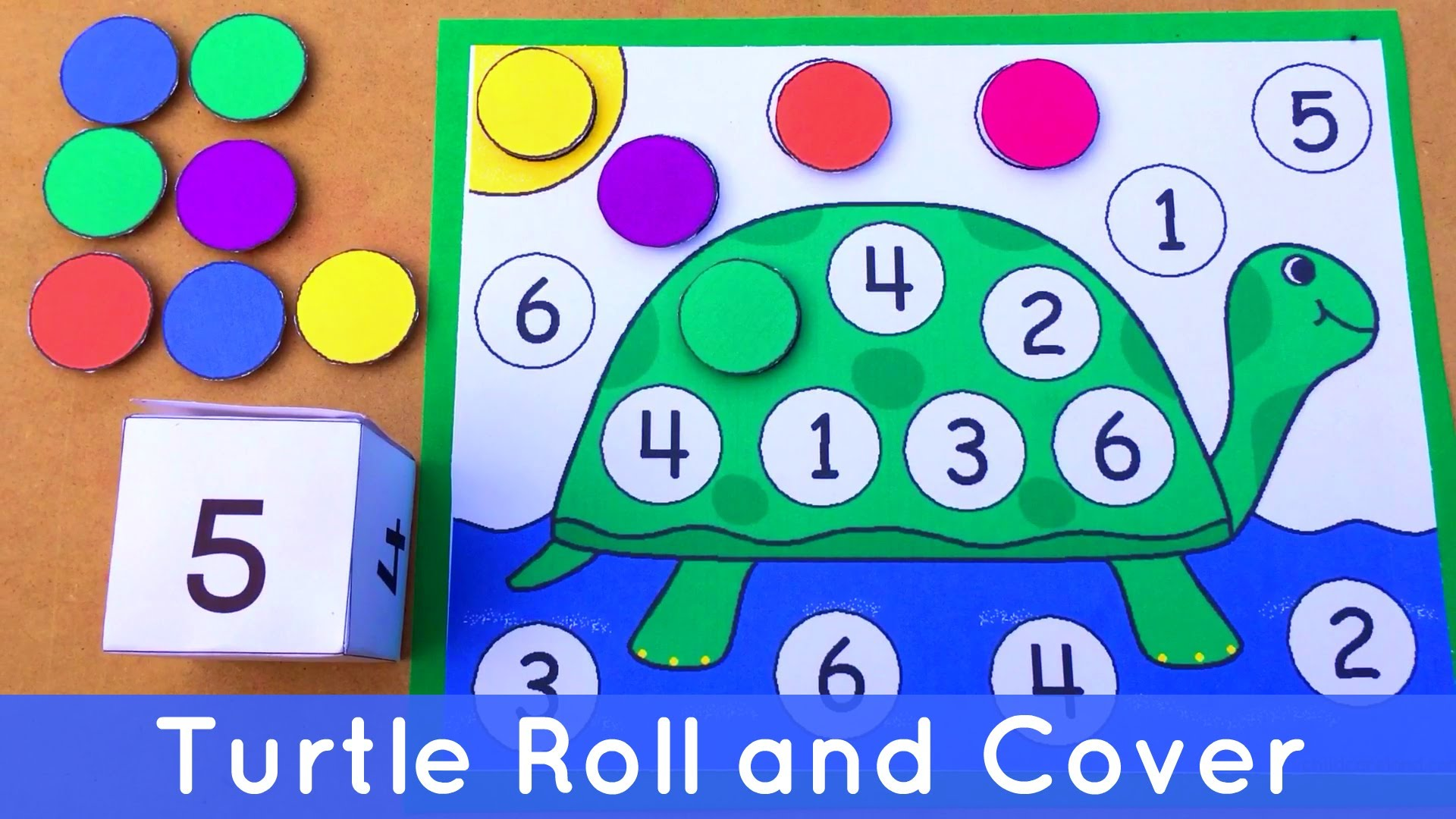 Turtle Roll and Cover - Preschool Number Activity For Math Centers ...