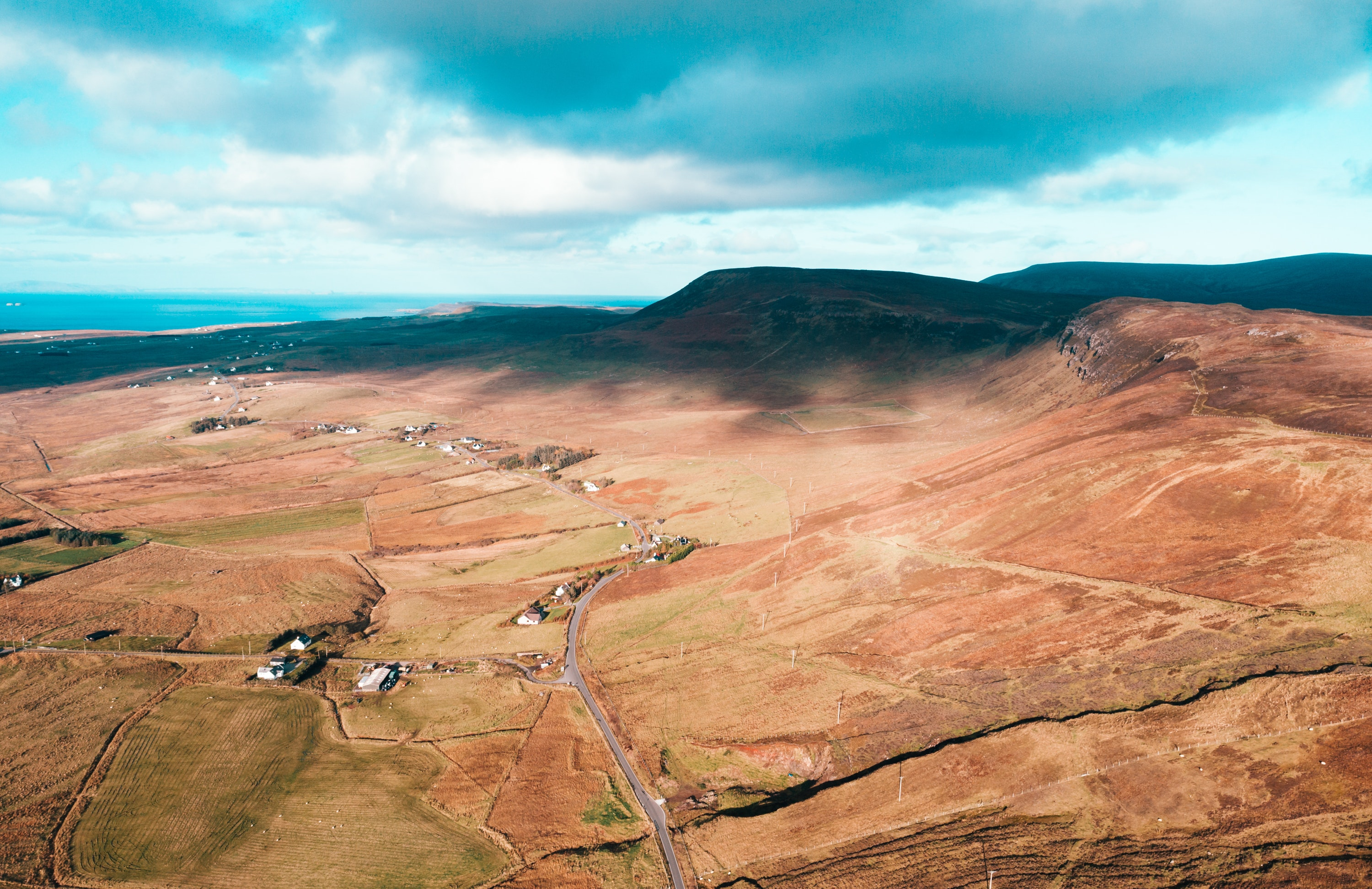 Aerial Photo Of A Field, Aerial shot, Clouds, Isle of skye, Landscape, HQ Photo