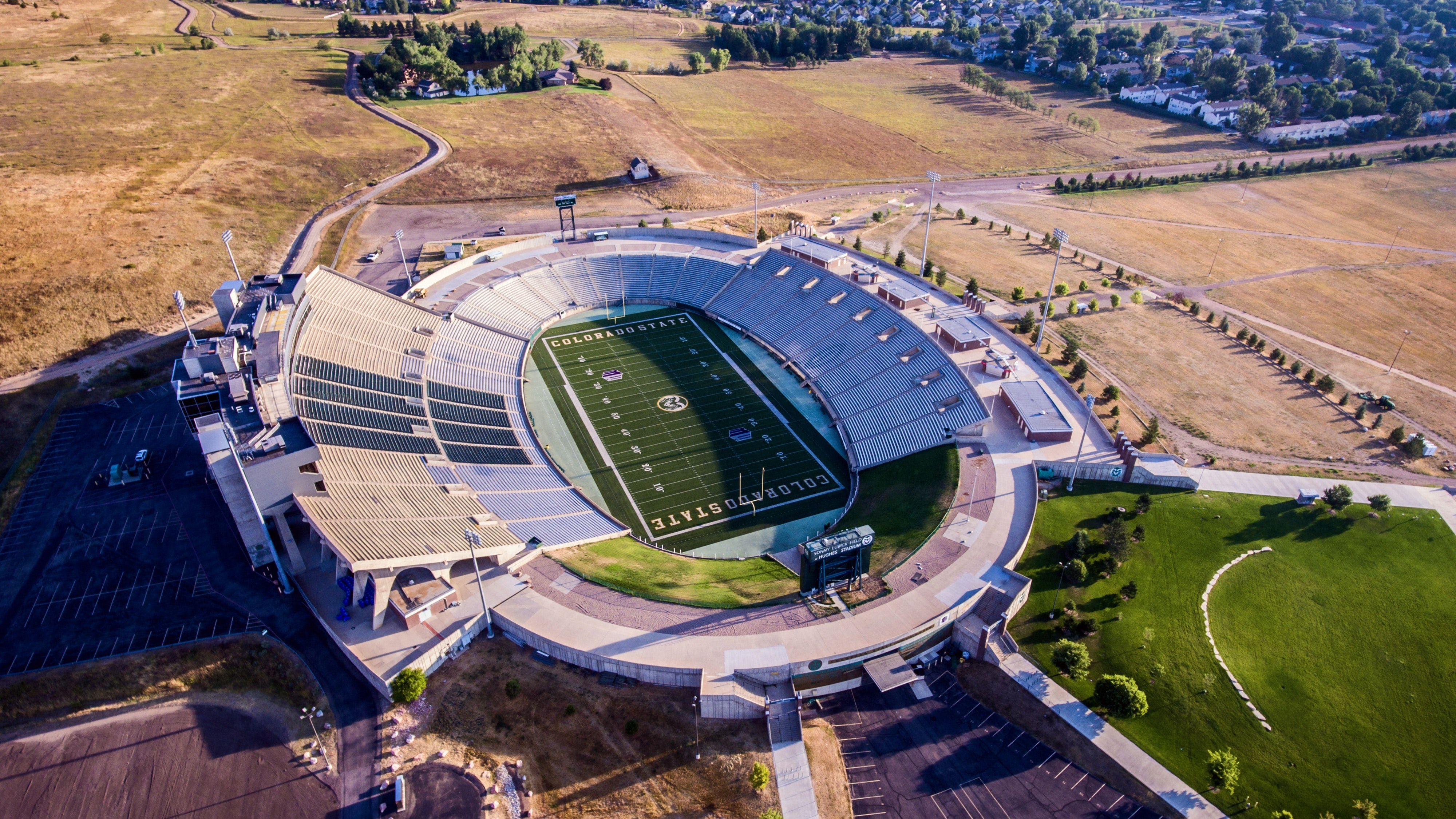 Aerial Photo of Gray and White Stadium, Architecture, Fort collins, Steel and concrete structure, Stadium, HQ Photo