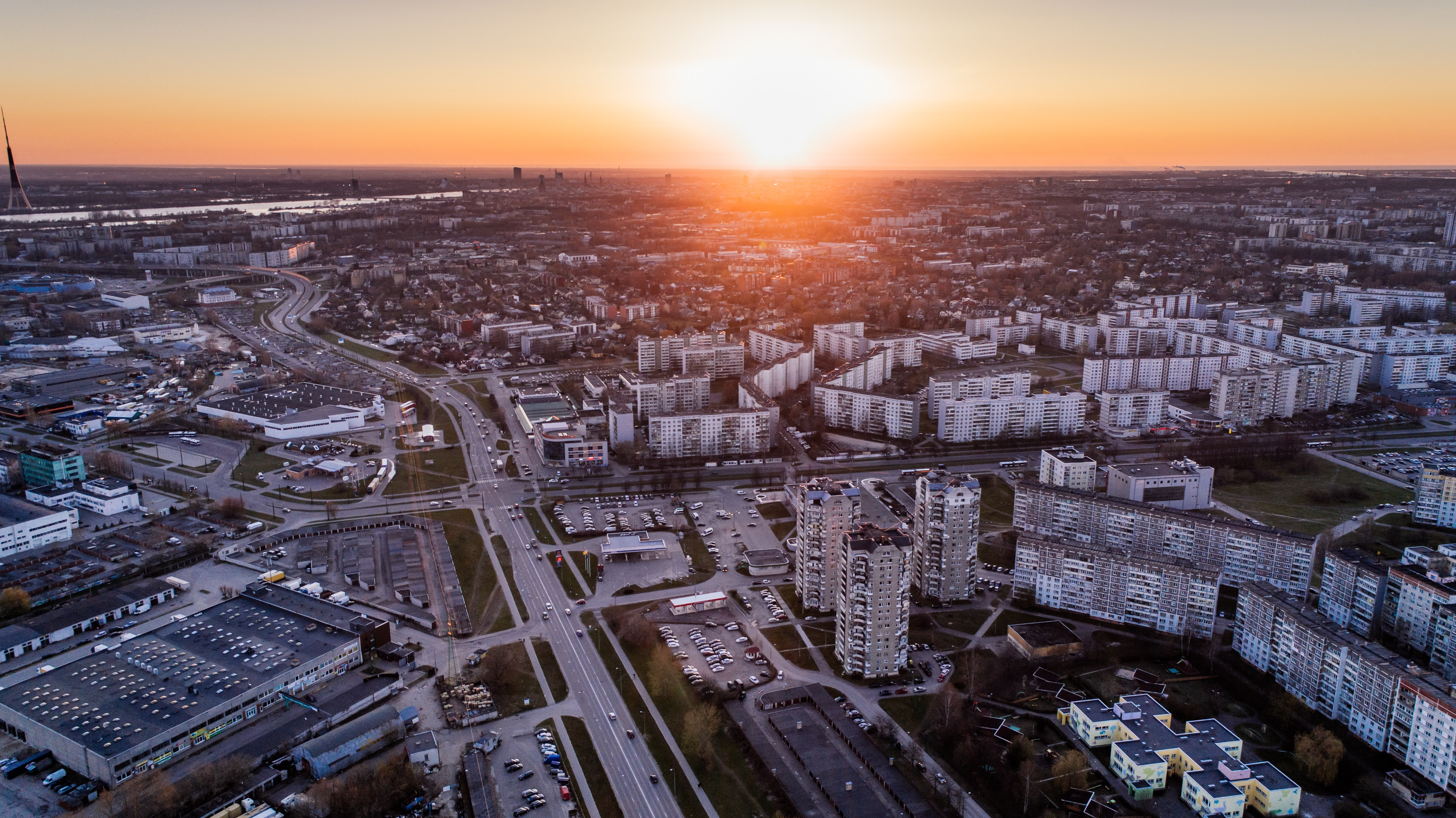 Aerial Photo of High Rise Building during Sunrise, Aerial view, River, Urban, Trees, HQ Photo