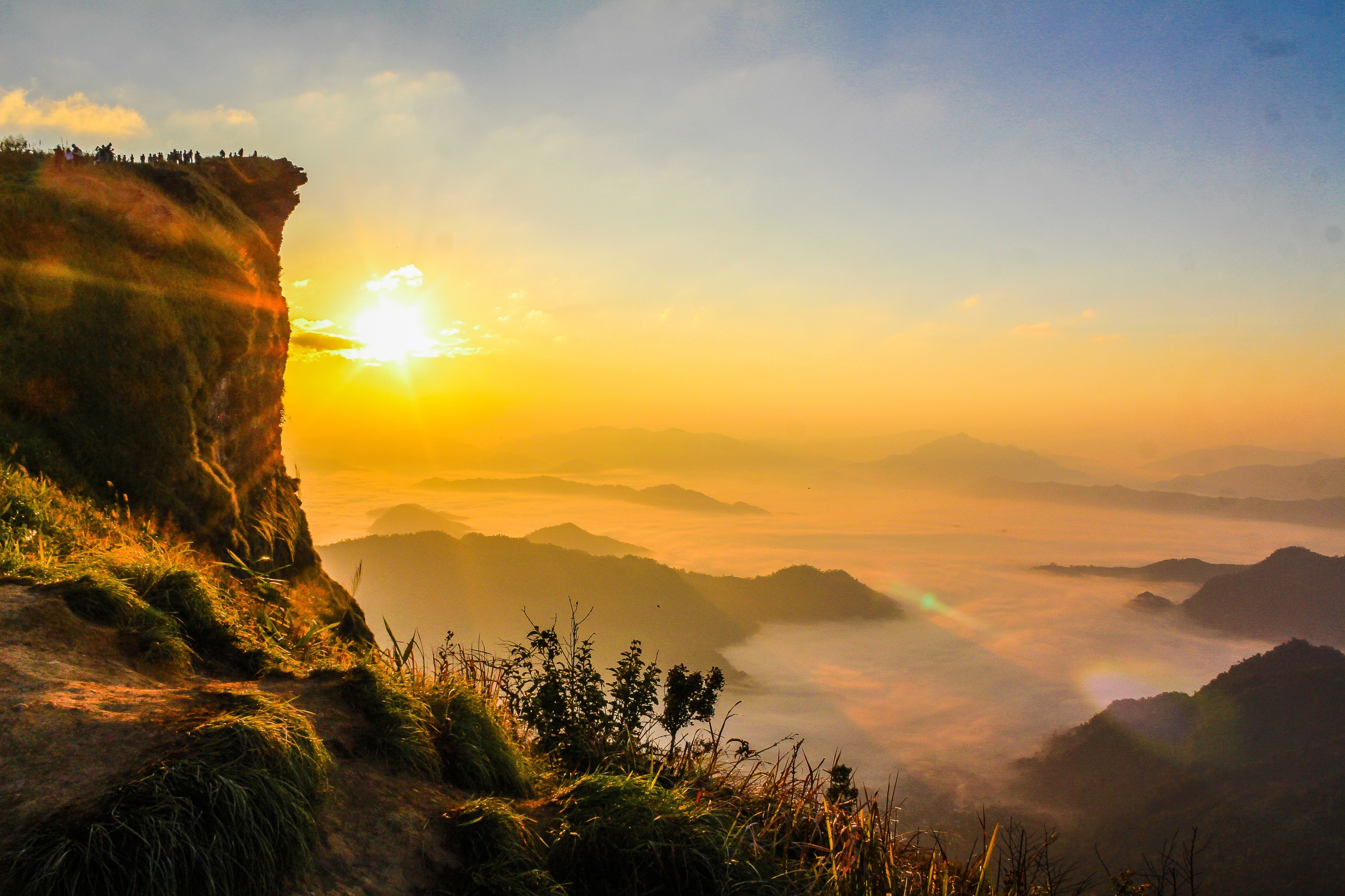 Aerial Photo of Mountain Surrounded by Fog, Adventure, Scenic, Natural, Nature, HQ Photo