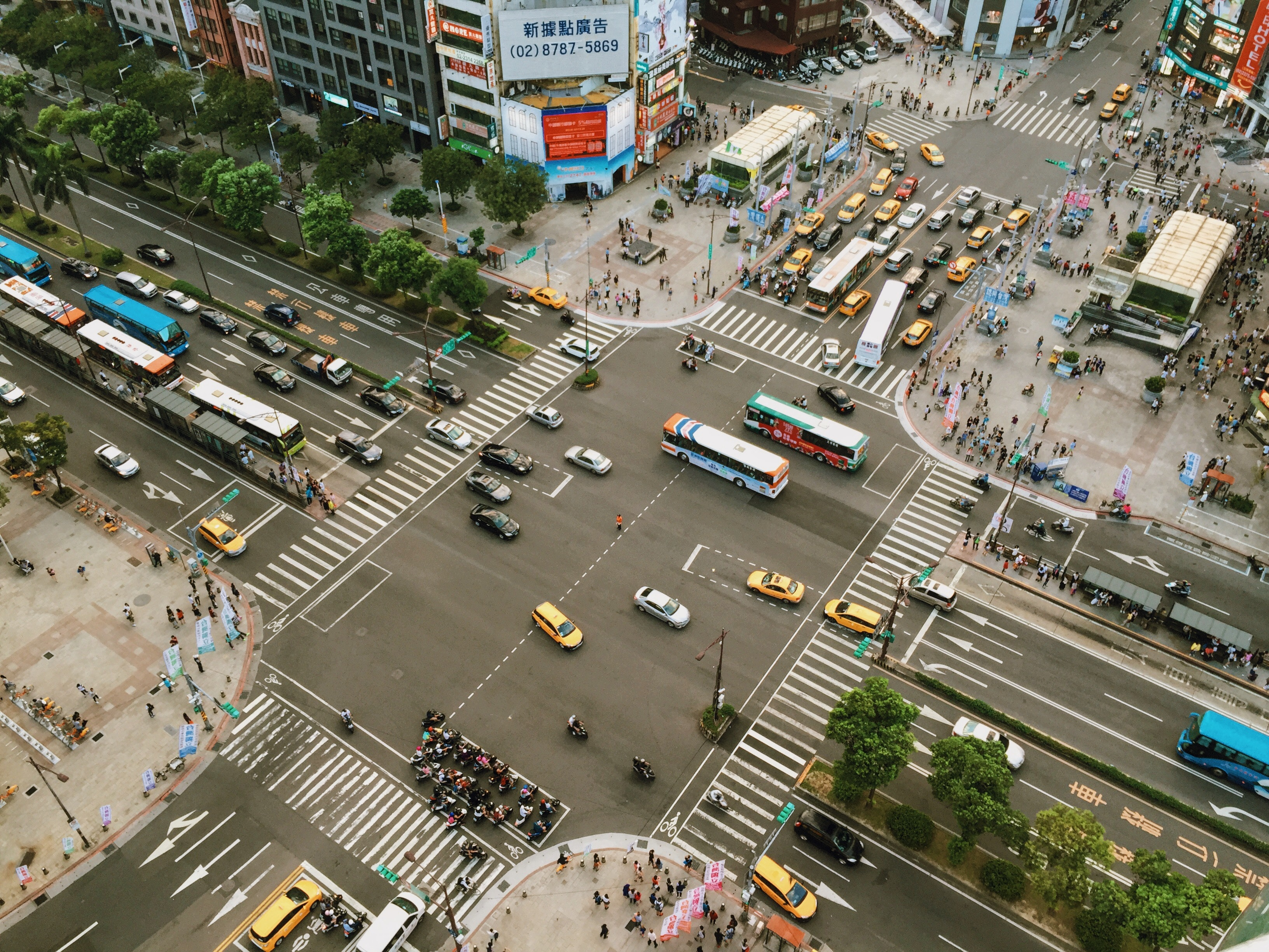 Aerial Photography of Cars on Road Intersection, Motion, Vehicles, Vehicle, Urban, HQ Photo